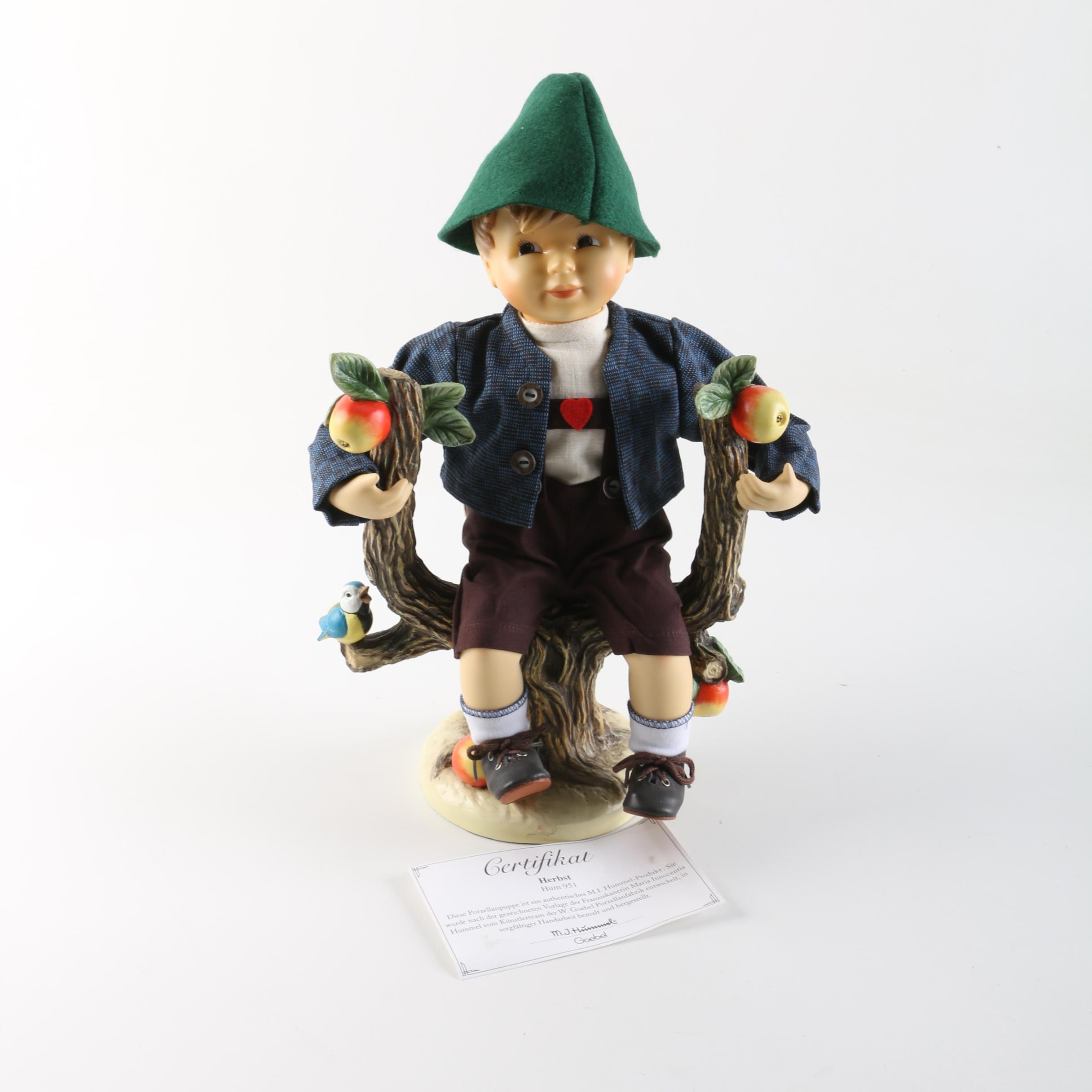 "Vintage Hummel ""Apple Tree Boy"" Porcelain Doll with Tree Stand"