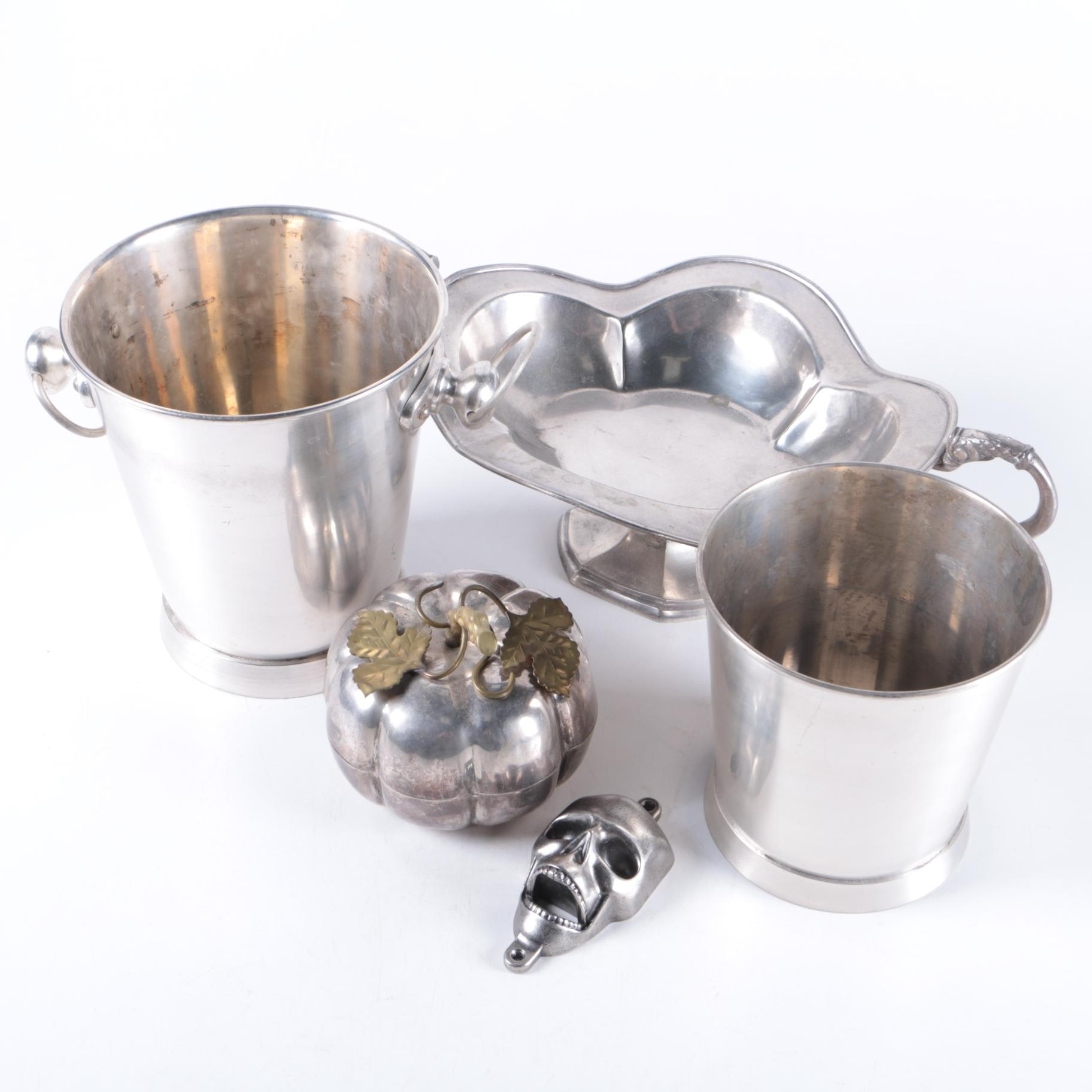 Metal Ice Buckets and Footed Serving Dish