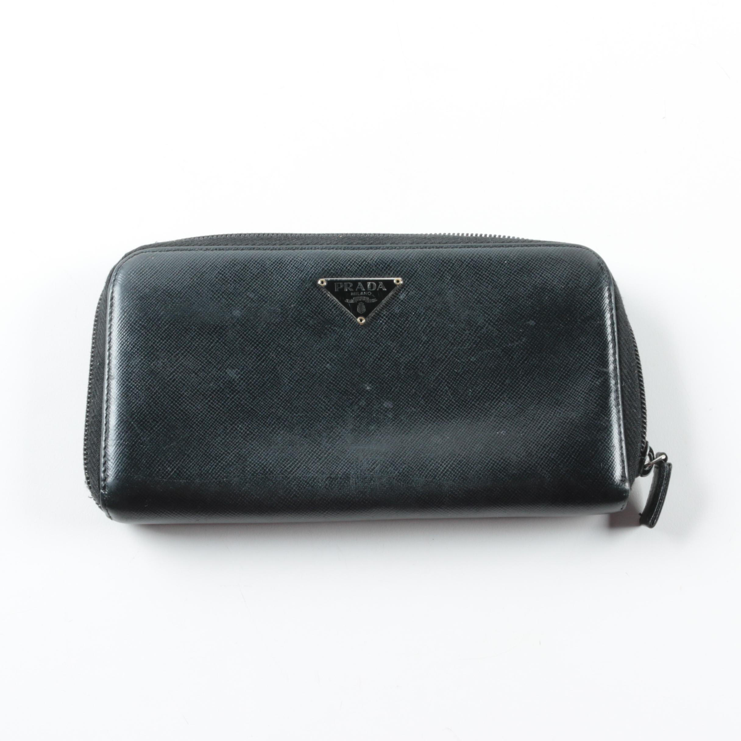 Prada Saffiano Zippered Clutch Wallet