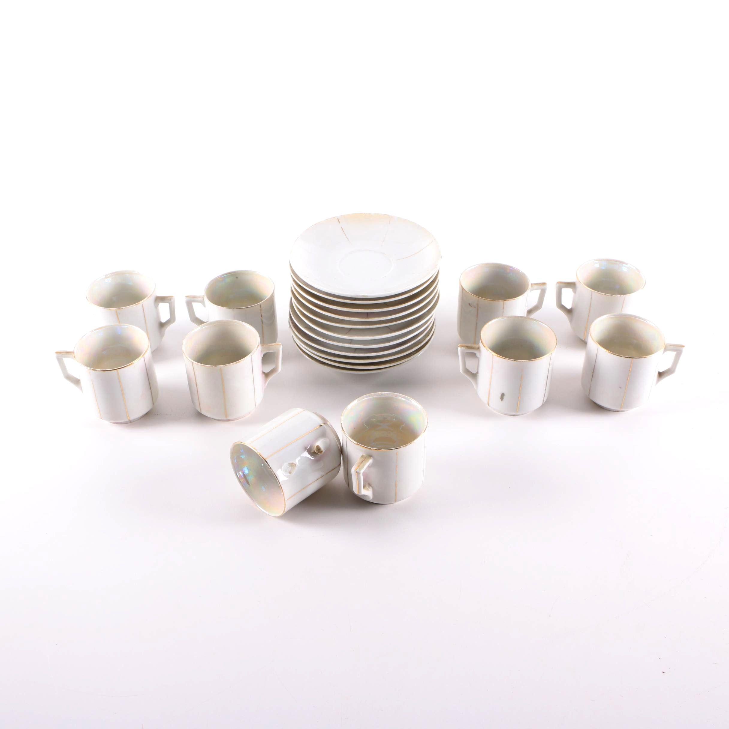 Vintage German Gilt Opalescent Porcelain Demitasse Set