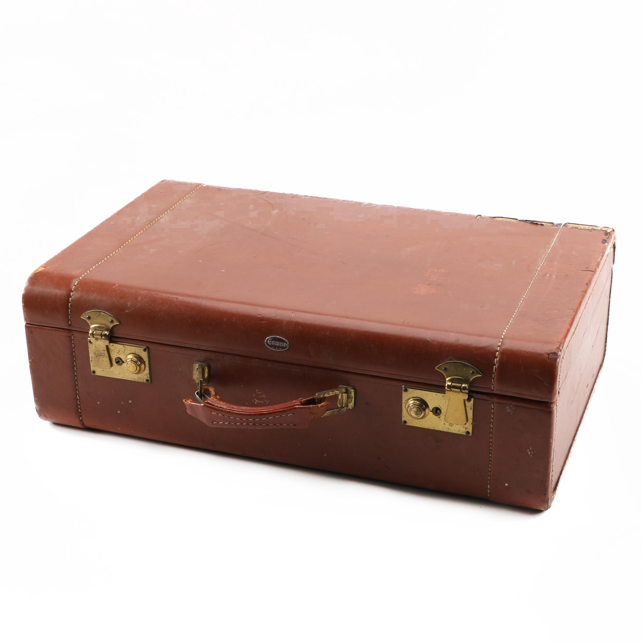 1960s Vintage Towne Leather Suitcase