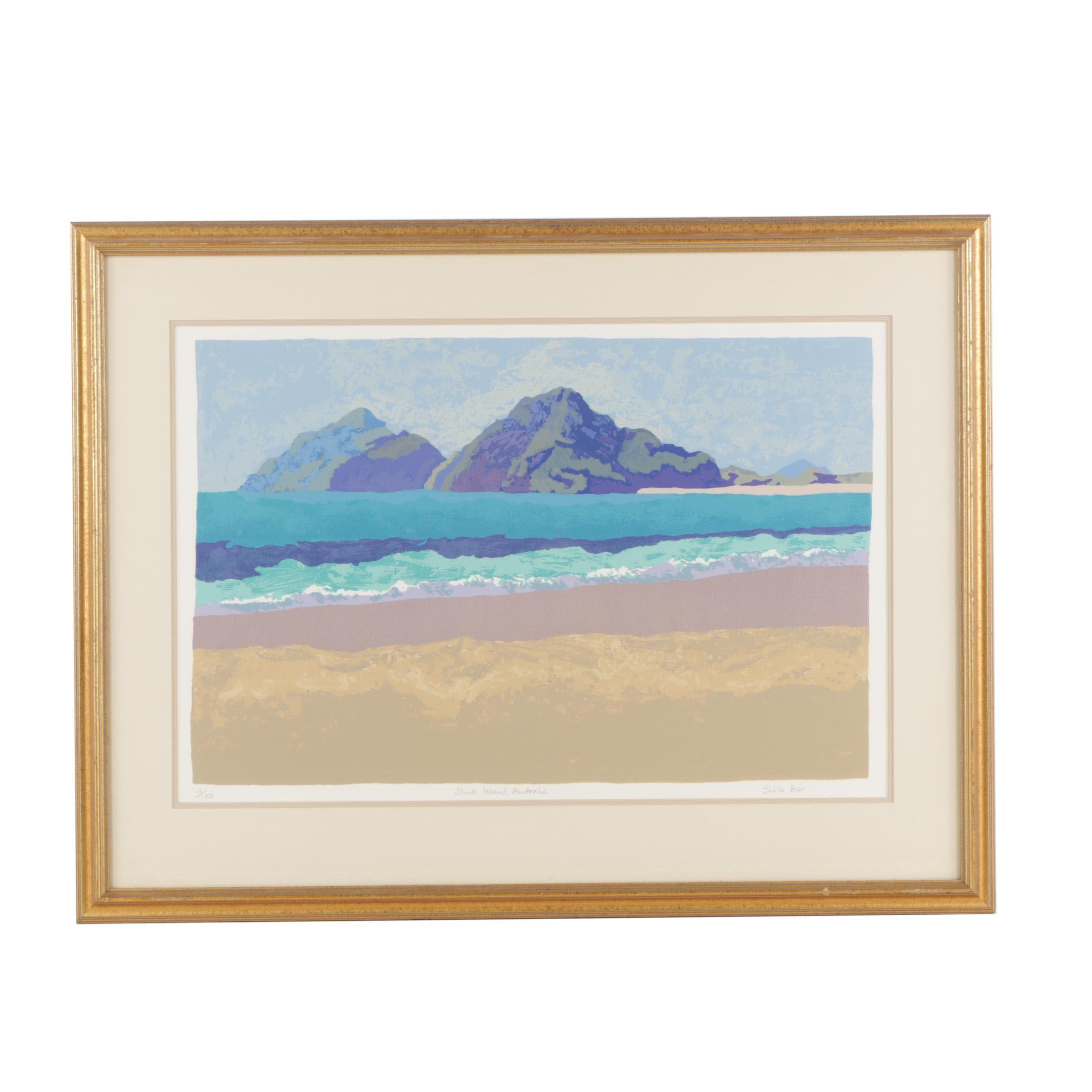 "Sheila Bion Limited Edition Serigraph ""Dunk Island, Australia"""