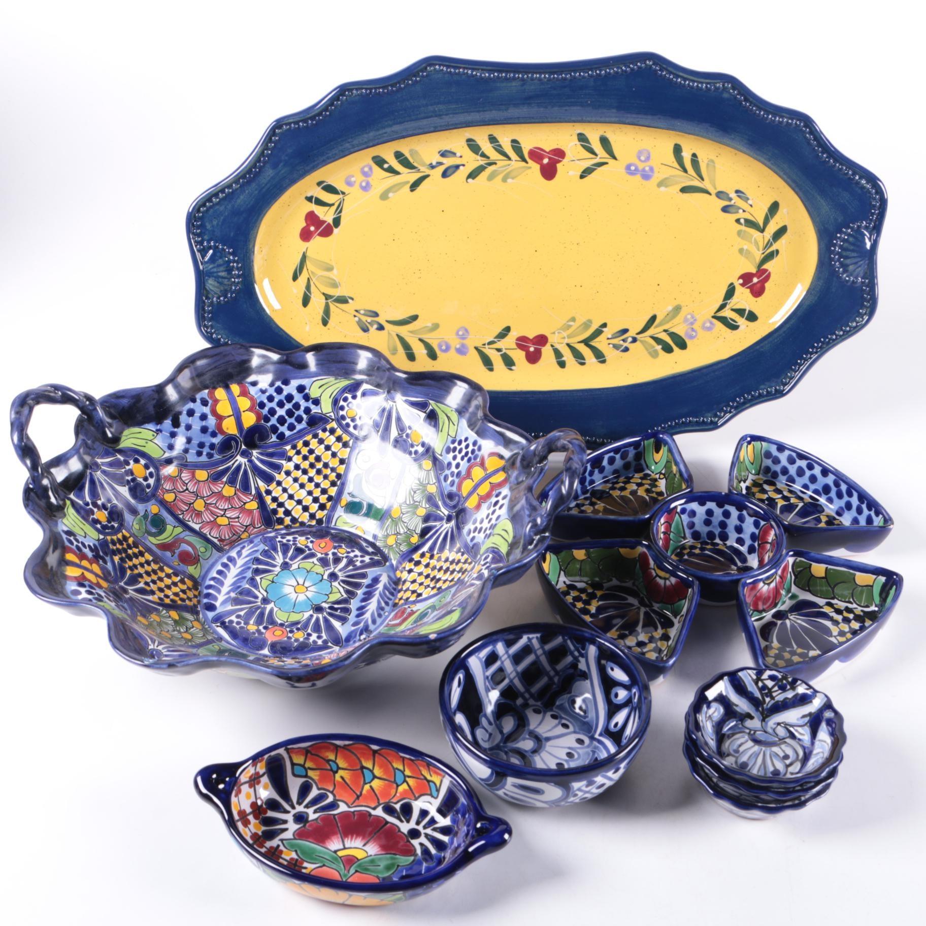 Twelve Glazed Ceramic Serving Dishes