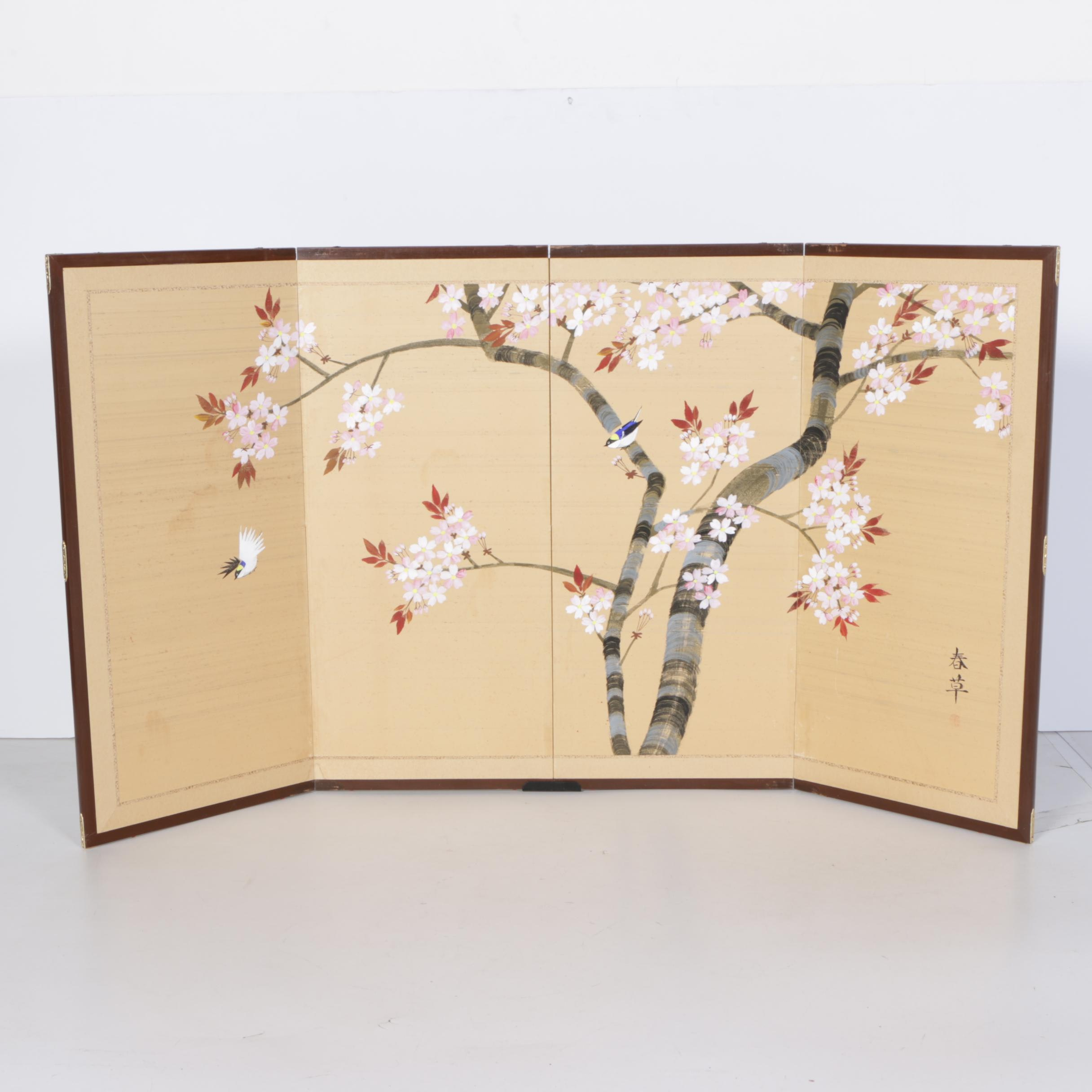 Painted Japanese Screen