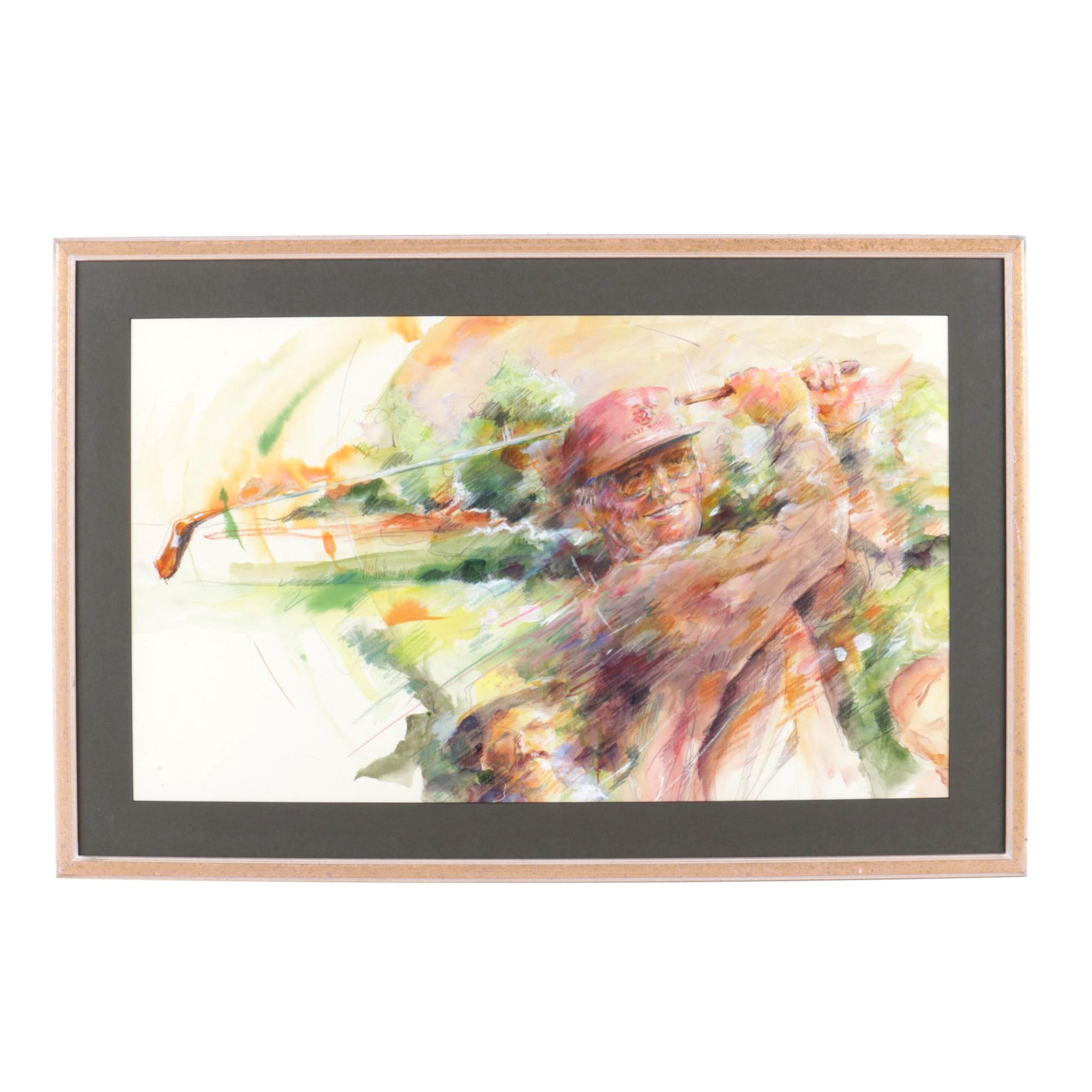 Watercolor and Graphite Illustration on Paper of Golfer in Mid-Swing