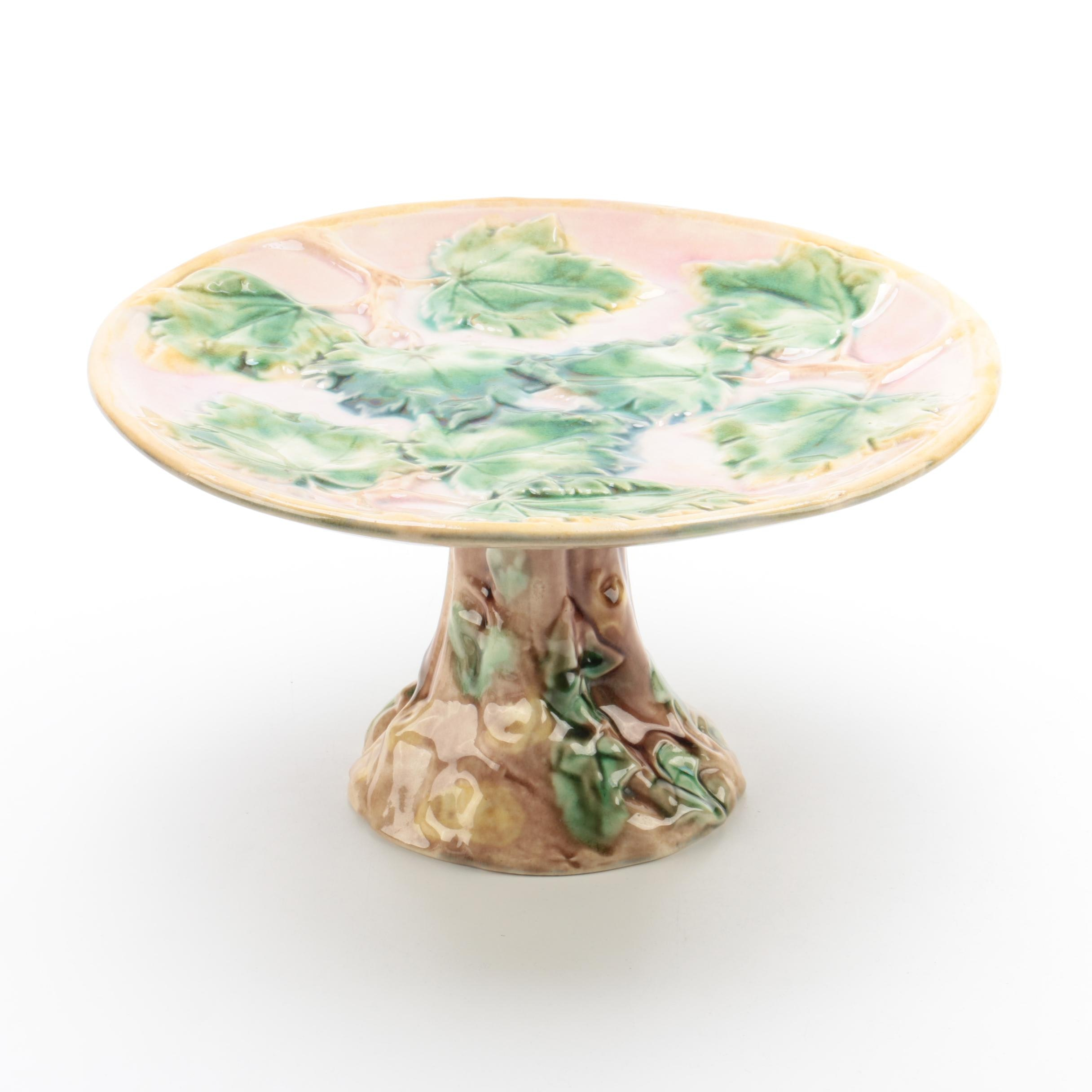Antique Griffin, Smith and Hill American Etruscan Majolica Cake Stand