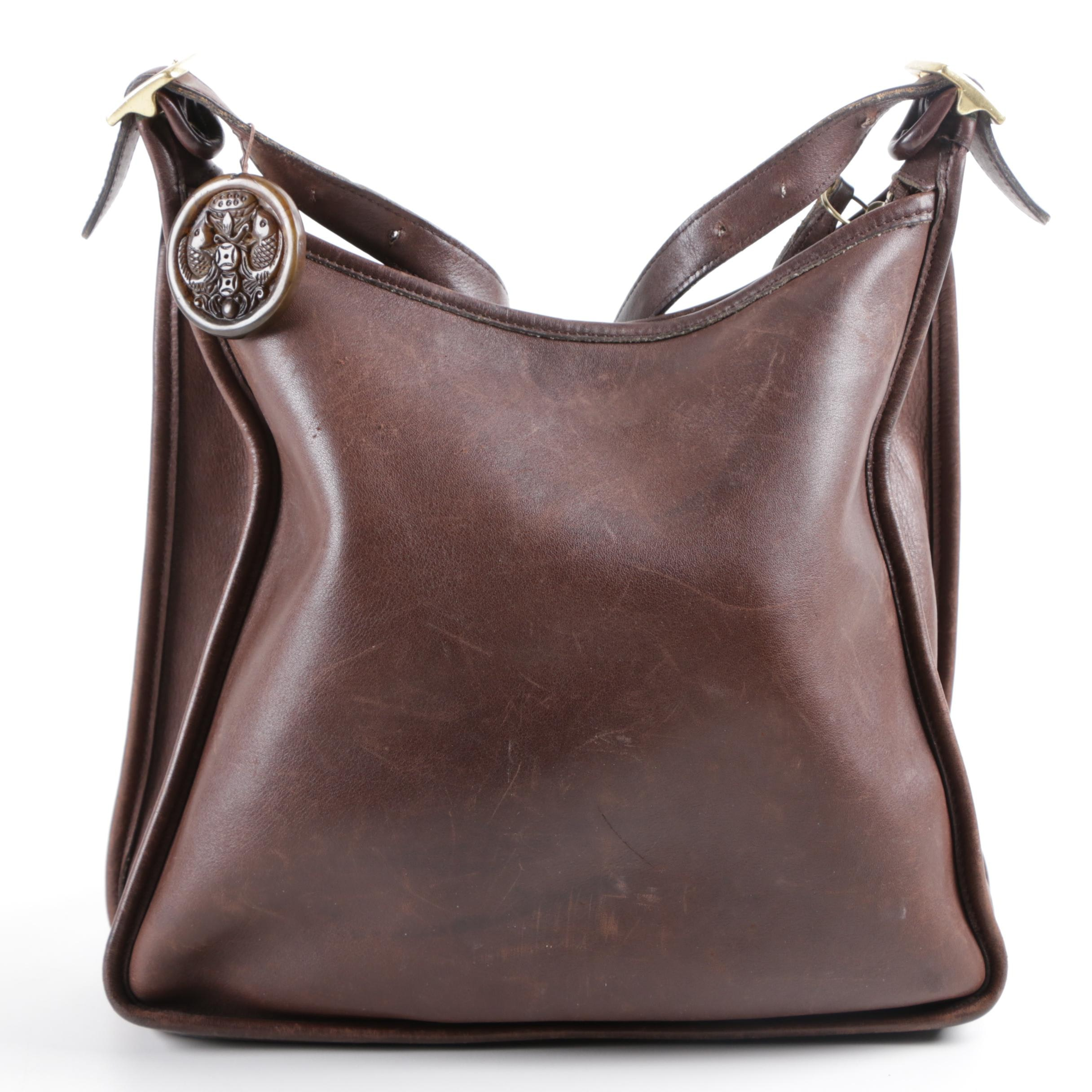 Vintage Coach Andrea Brown Leather Slim Tote