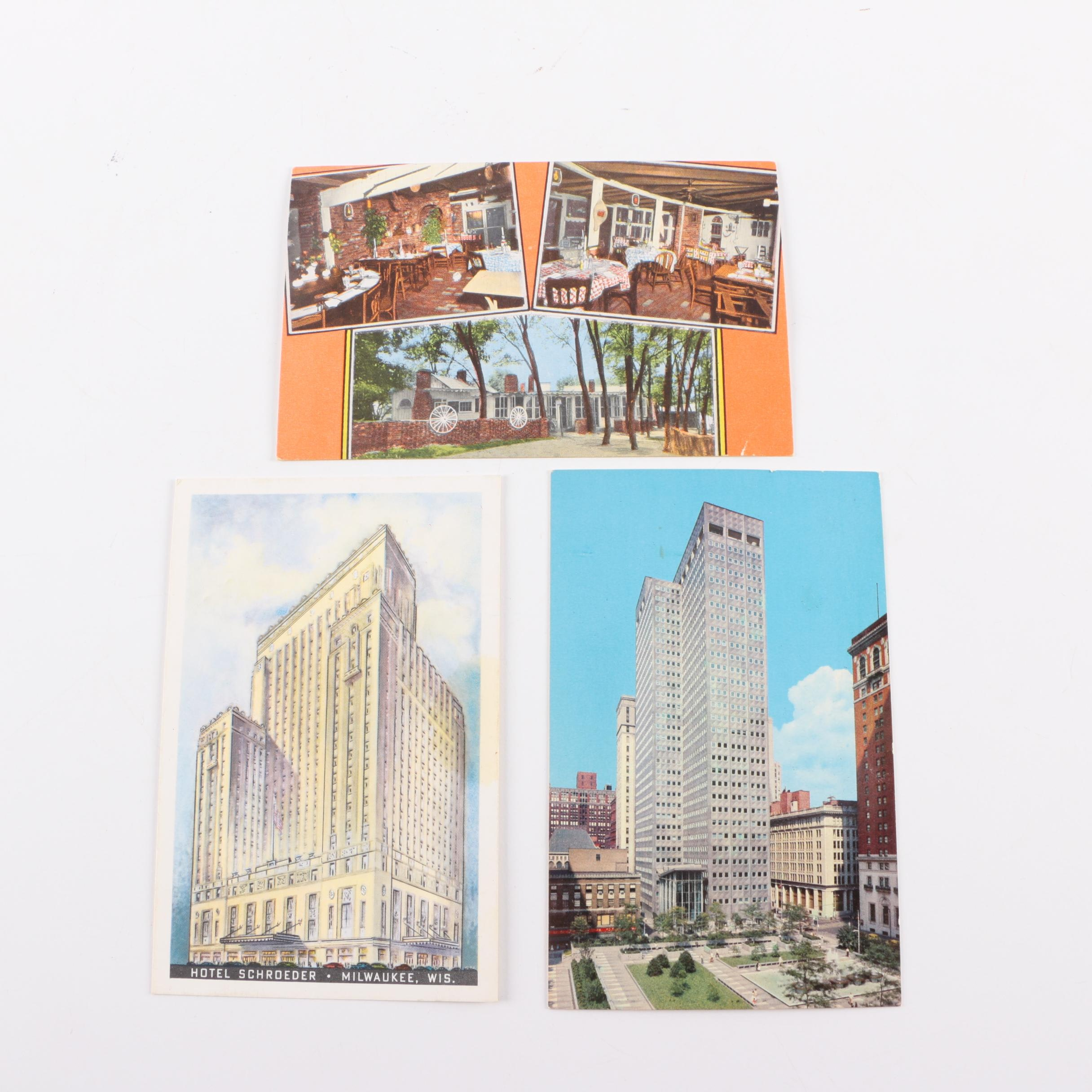 Vintage Souvenir Postcards from Milwaukee, Georgia, and Pittsburgh