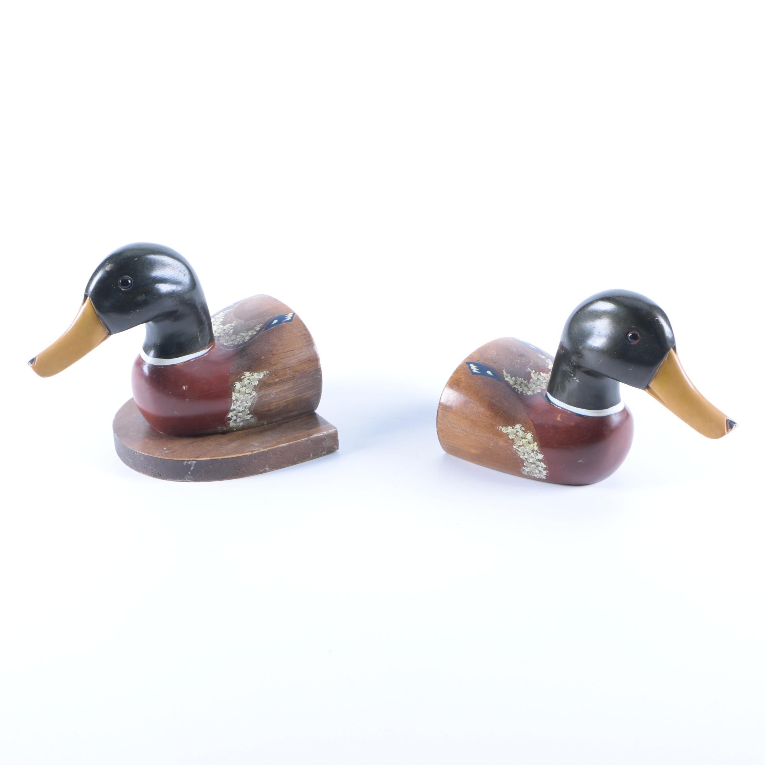 Wooden Mallard Duck Bookends