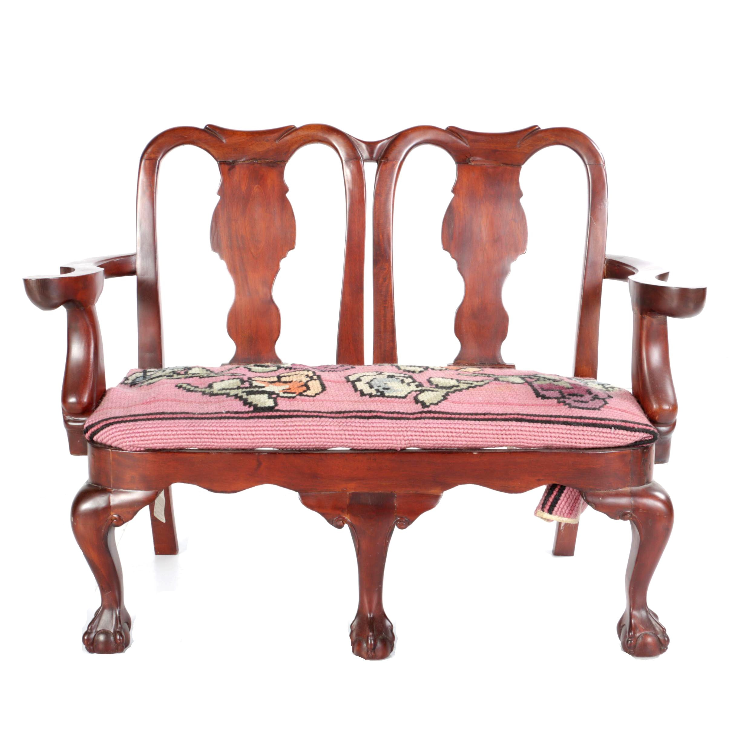 Vintage Chippendale Style Mahogany Settee
