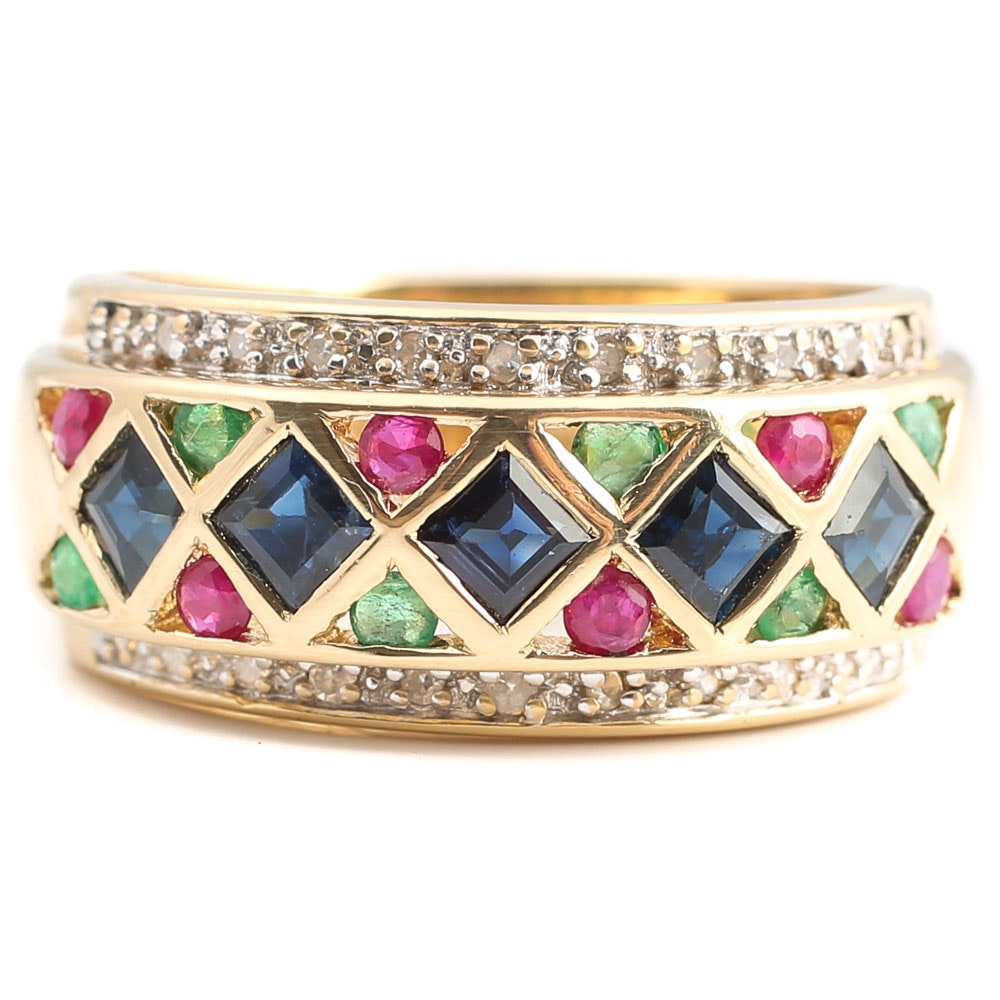 14K Yellow Gold Multi-Gemstone and Diamond Ring