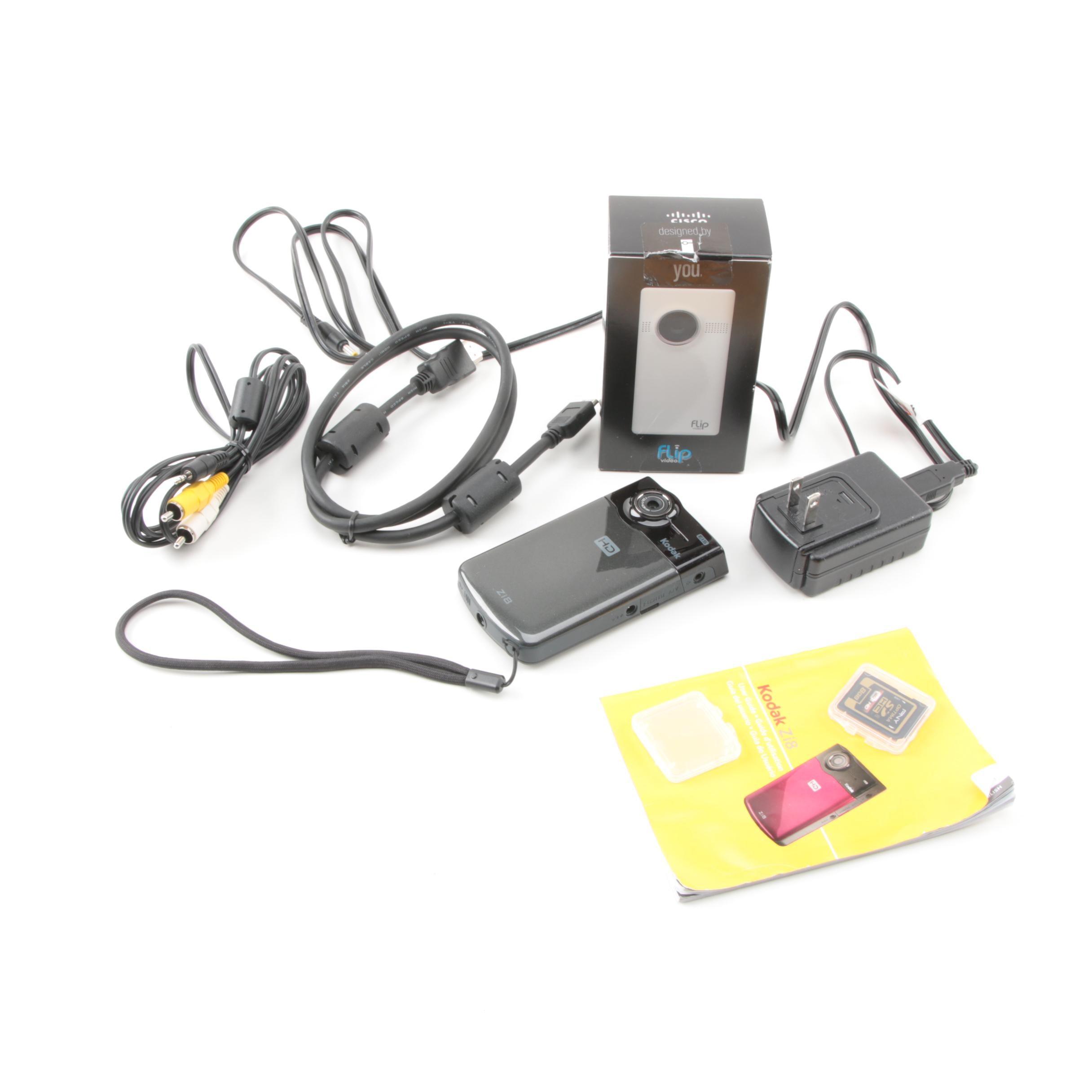 Kodak Zi8 and Flip MinoHD Video Cameras with Accessories