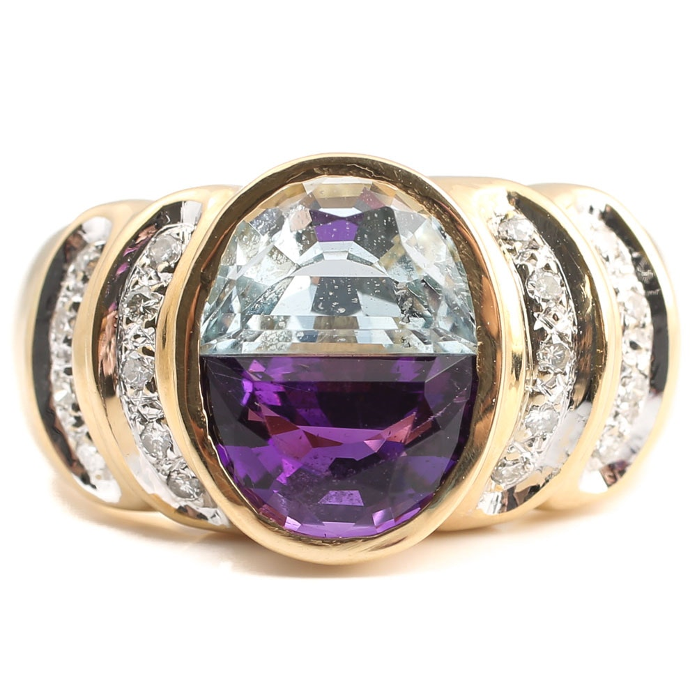 14K Yellow Gold Amethyst, Blue Topaz and Diamond Ring