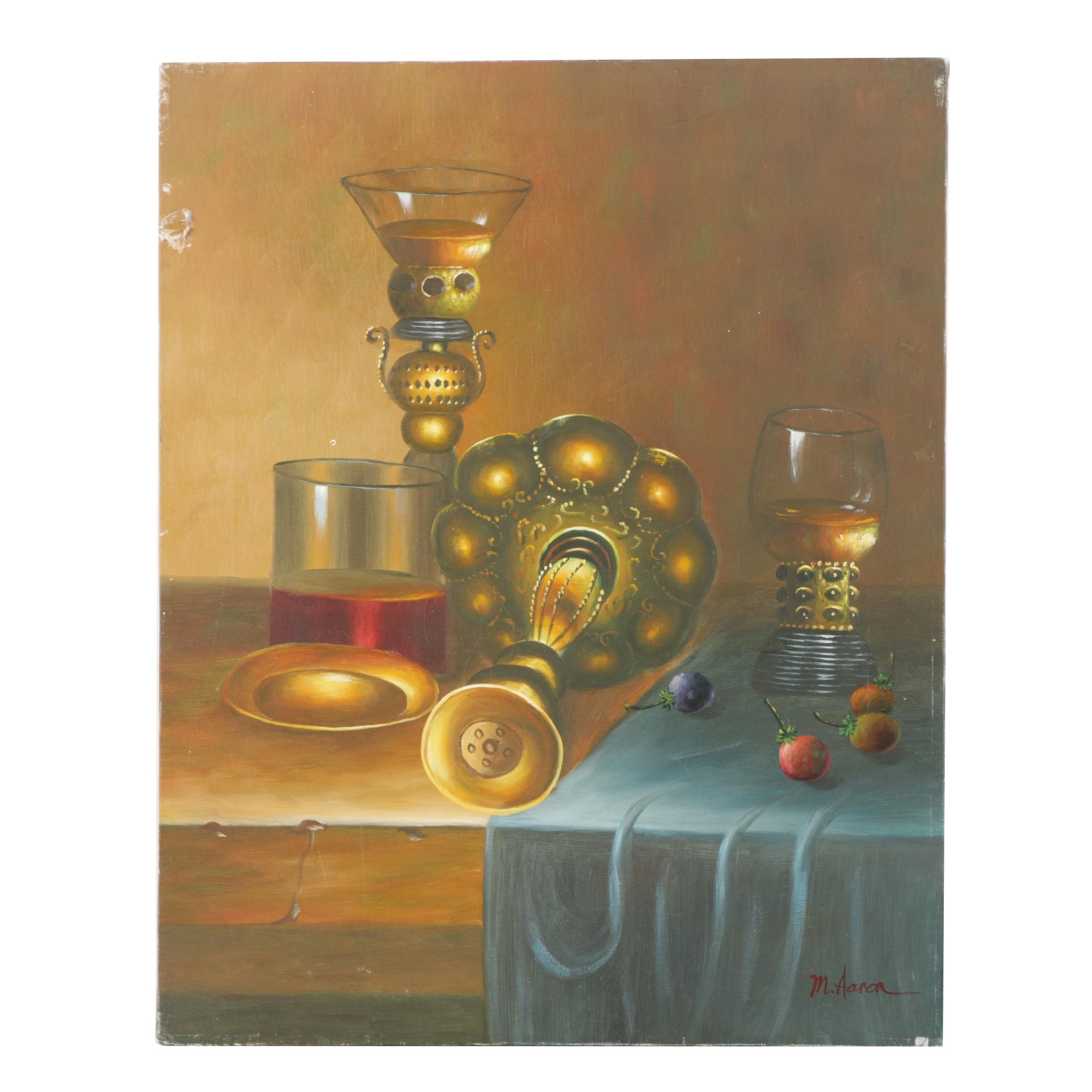 M. Aaron Oil Painting of a Still Life