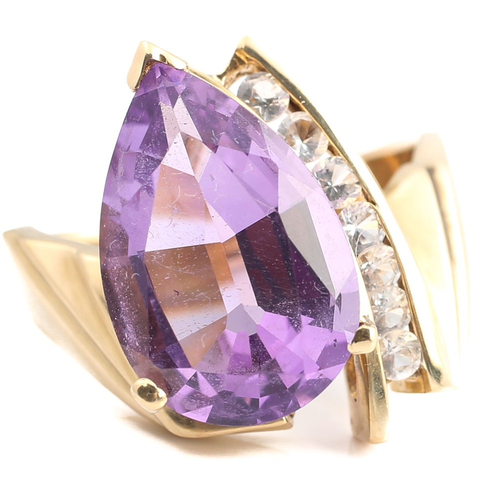 10K Yellow Gold 4.65 CT Amethyst and White Sapphire Ring