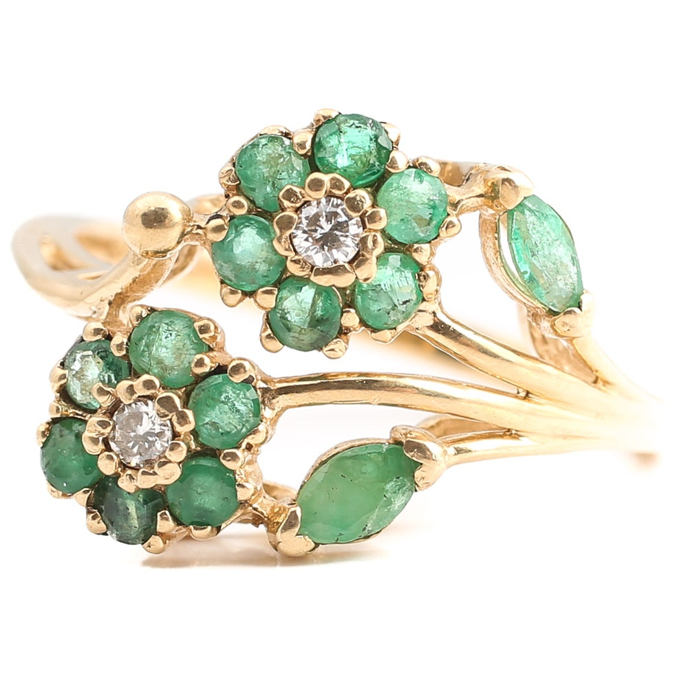 10K Yellow Gold Emerald and Diamond Cluster Ring