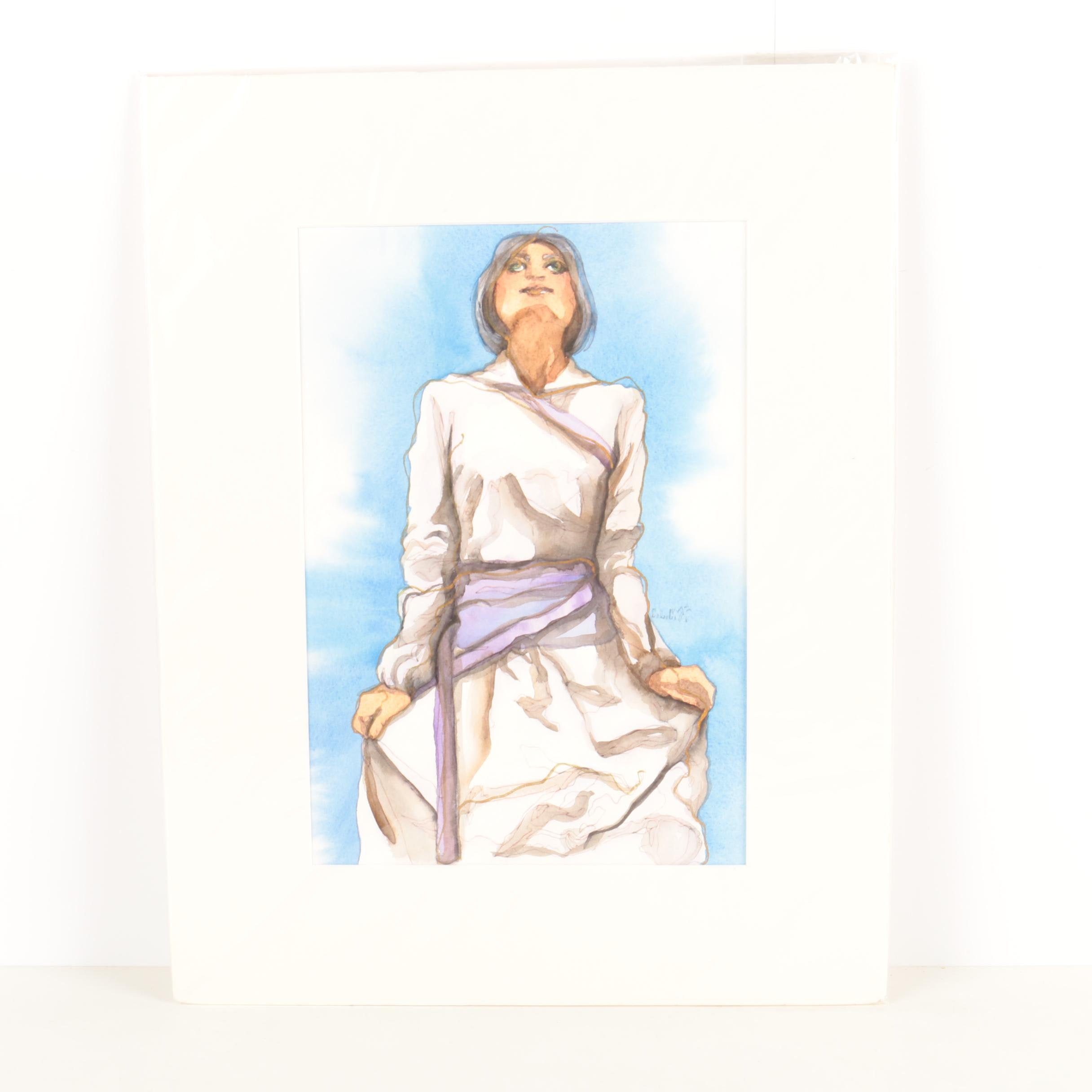 Mixed Media Painting on Paper of Woman in White and Purple Dress