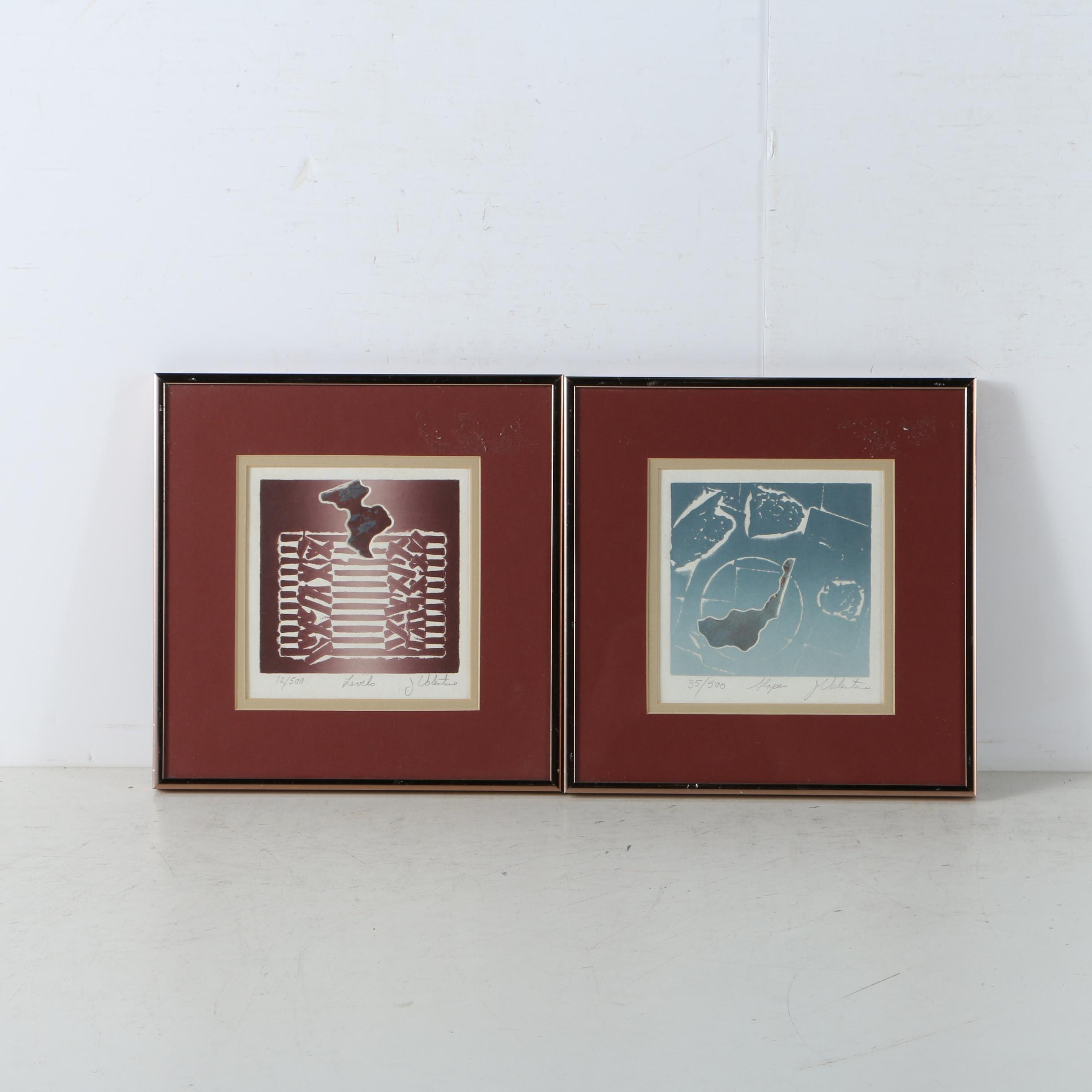 J. Valentine Limited Edition Abstract Intaglio Prints
