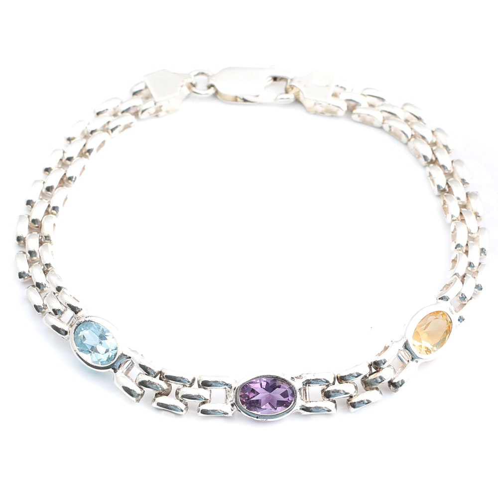 Sterling Silver Amethyst, Topaz and Citrine Bracelet
