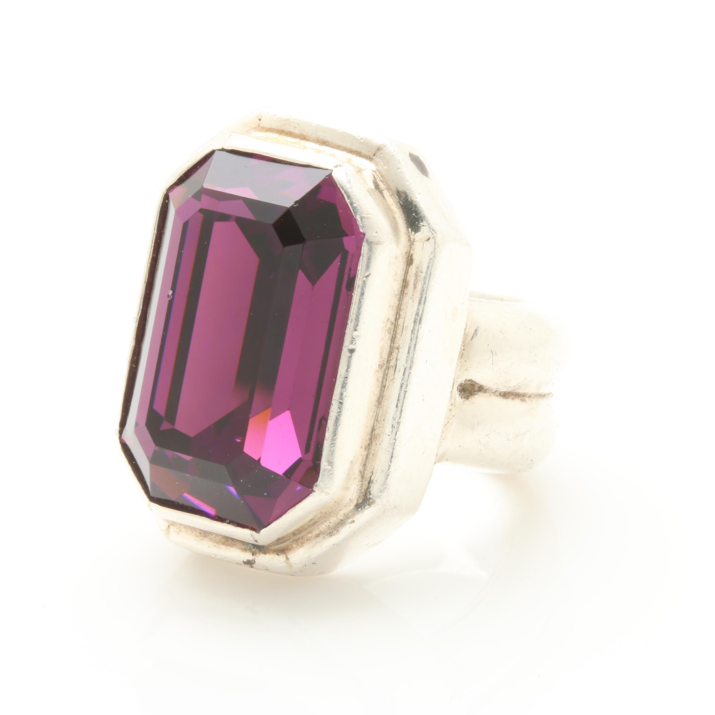 Barry Brinker Sterling Silver Glass Ring