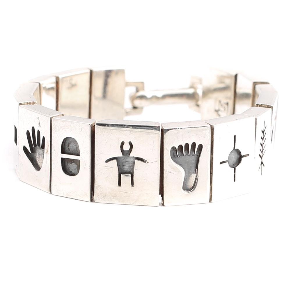 Martin & Denise Stecher Sterling Silver Petroglyph Panel Bracelet