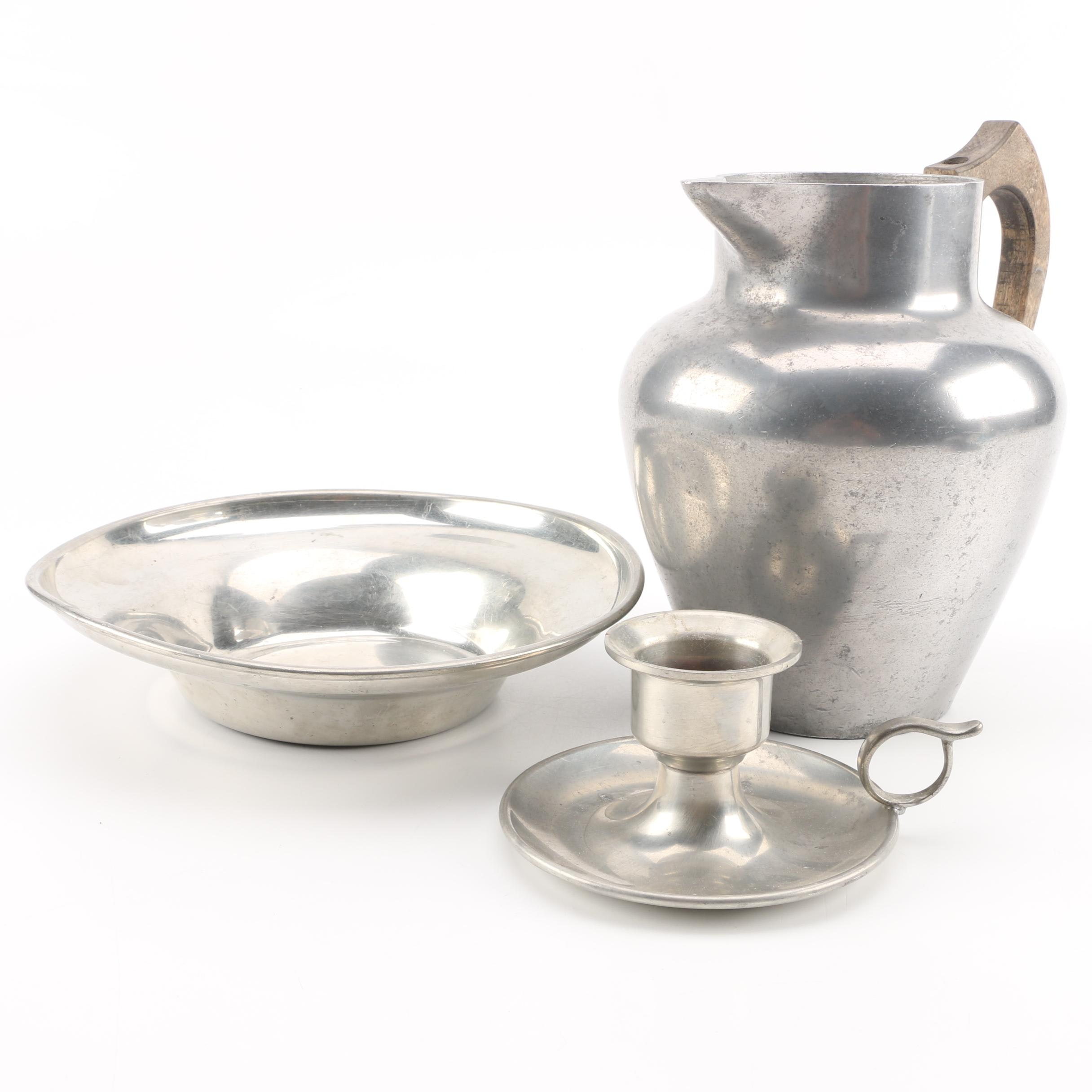 Pewter Pitcher, Bowl, and Candle Holder Including Stieff