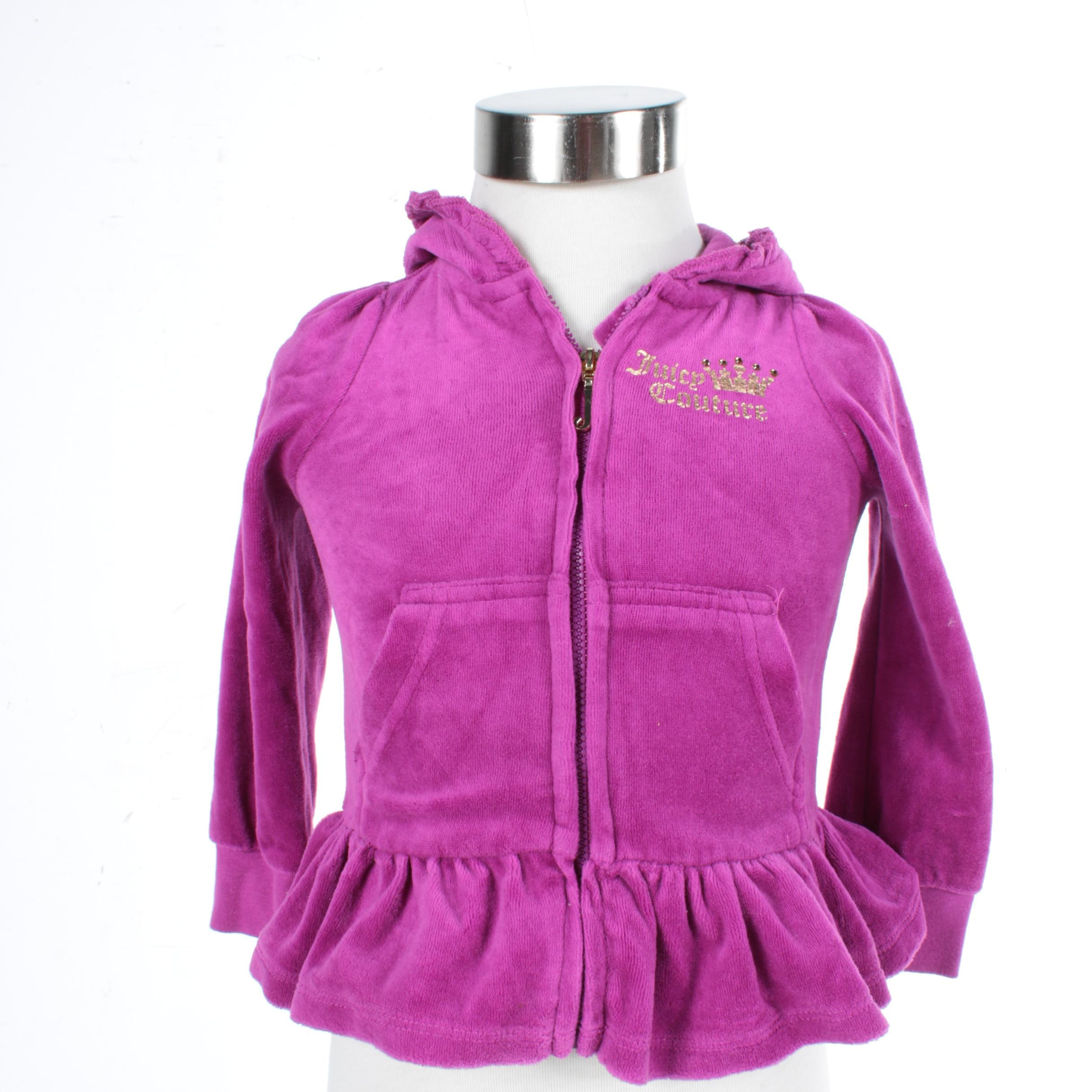 Girls' Juicy Couture Magenta Zip-Front Hoodie