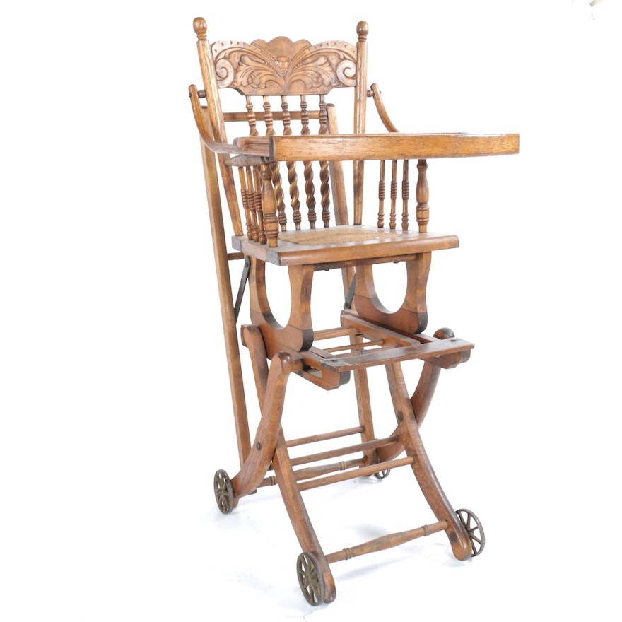 Antique Oak High Chair - Stroller ... - Antique Oak High Chair - Stroller : EBTH