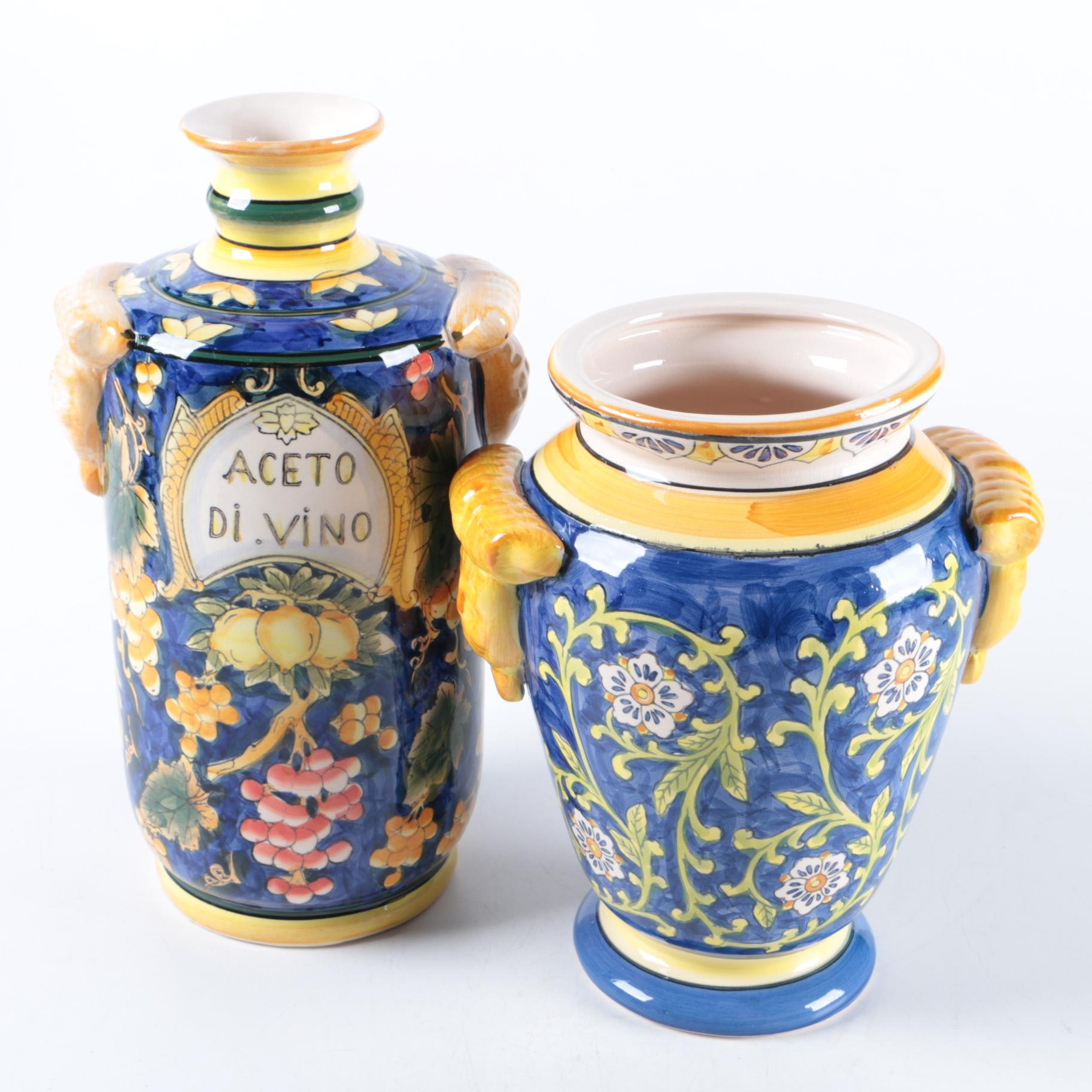 Hand-Painted Italian Style Ceramic Vase and Decanter