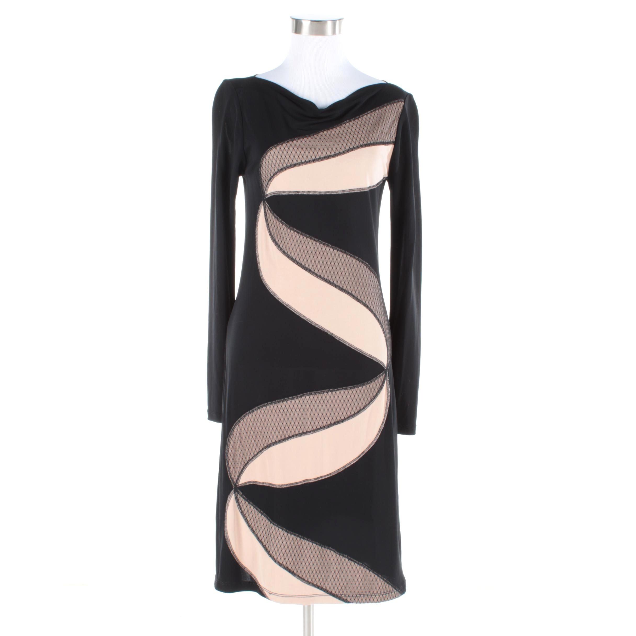 Catherine Malandrino Black Cowl Neck Dress with Blush Accent NWT