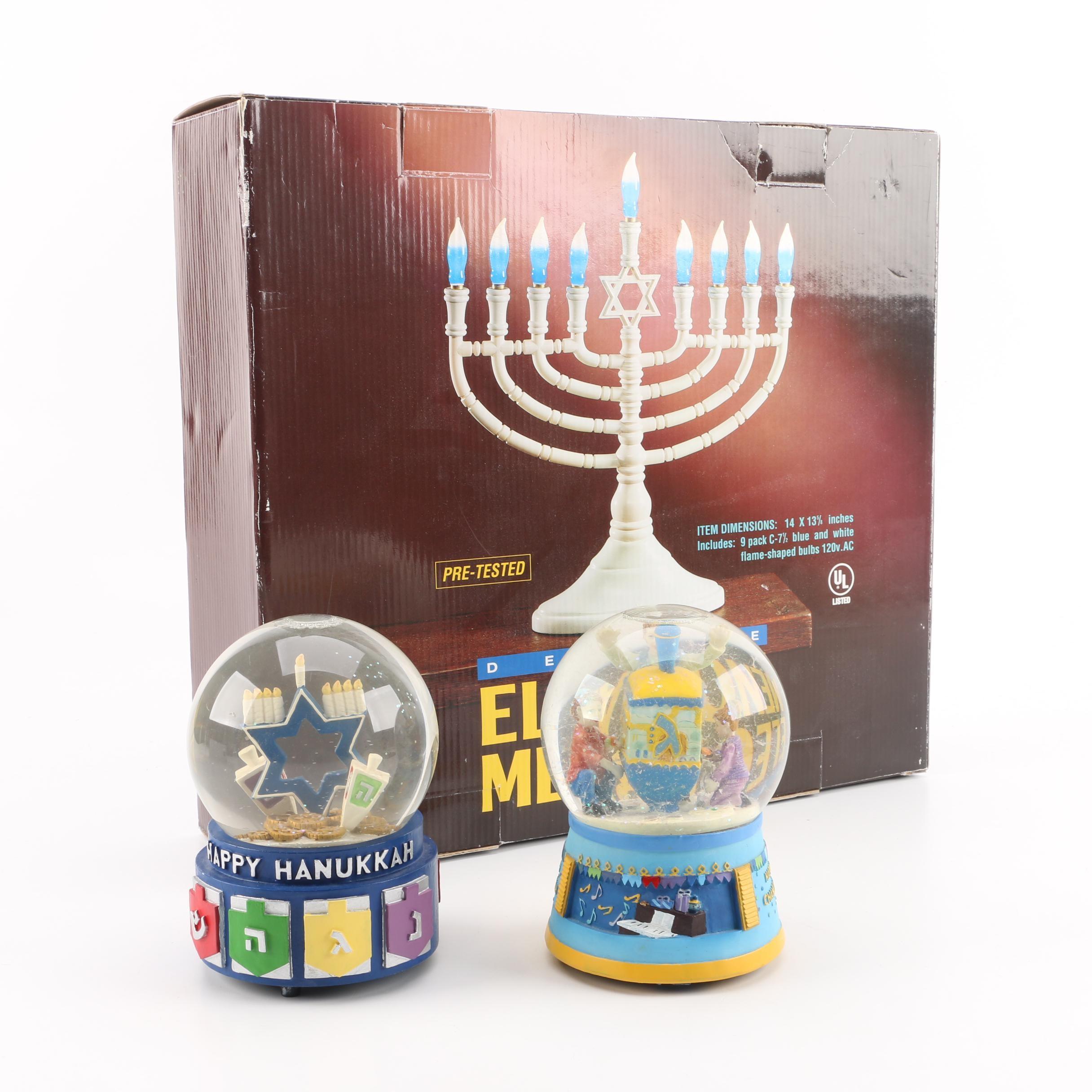 Electric Menorah and Hanukkah Snowglobes