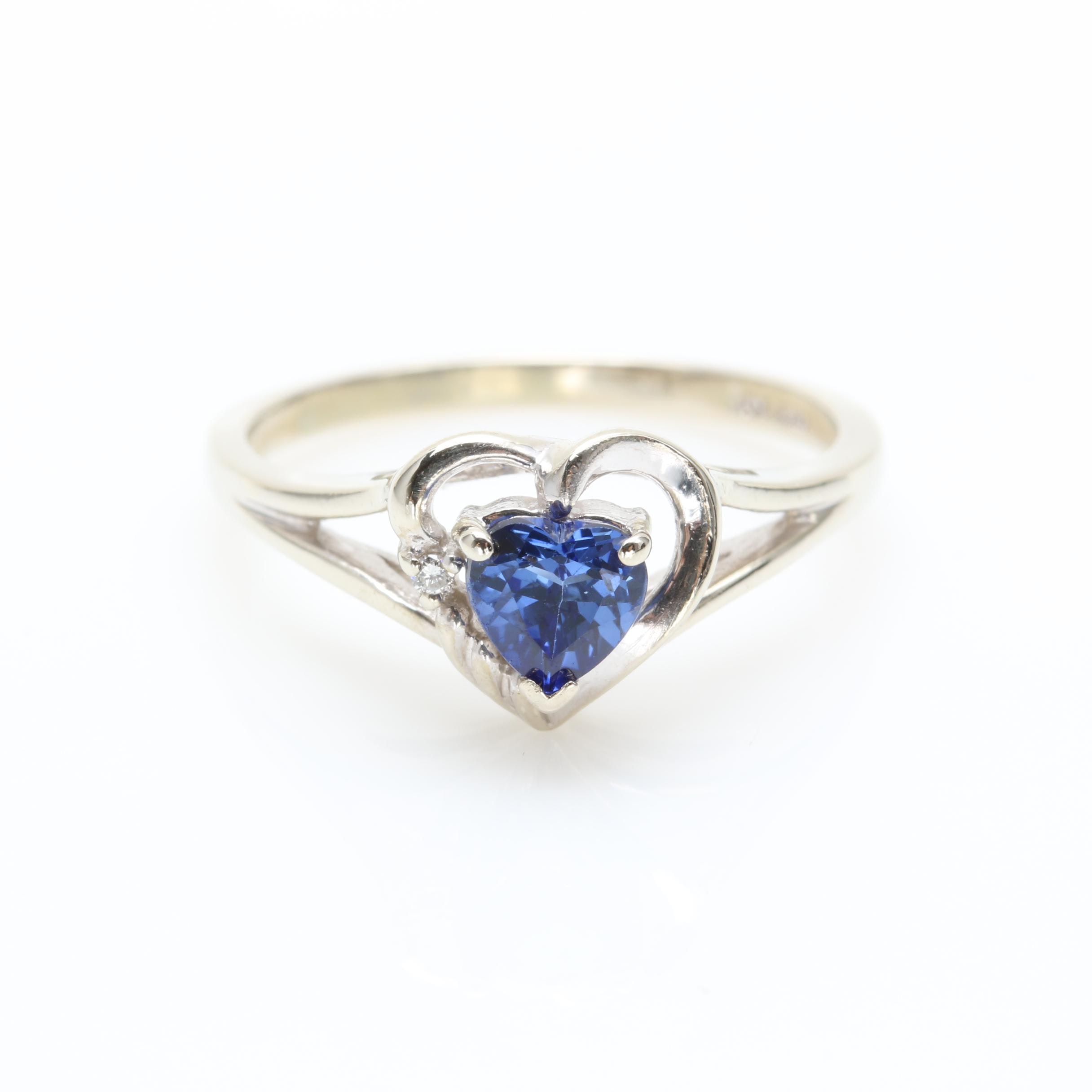 10K White Gold Synthetic Blue Sapphire and Diamond Ring