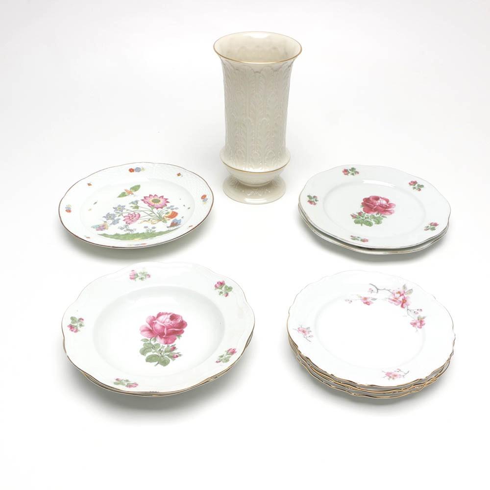"""Lenox """"Autumn Leaf"""" Vase and Other Porcelain Tableware"""