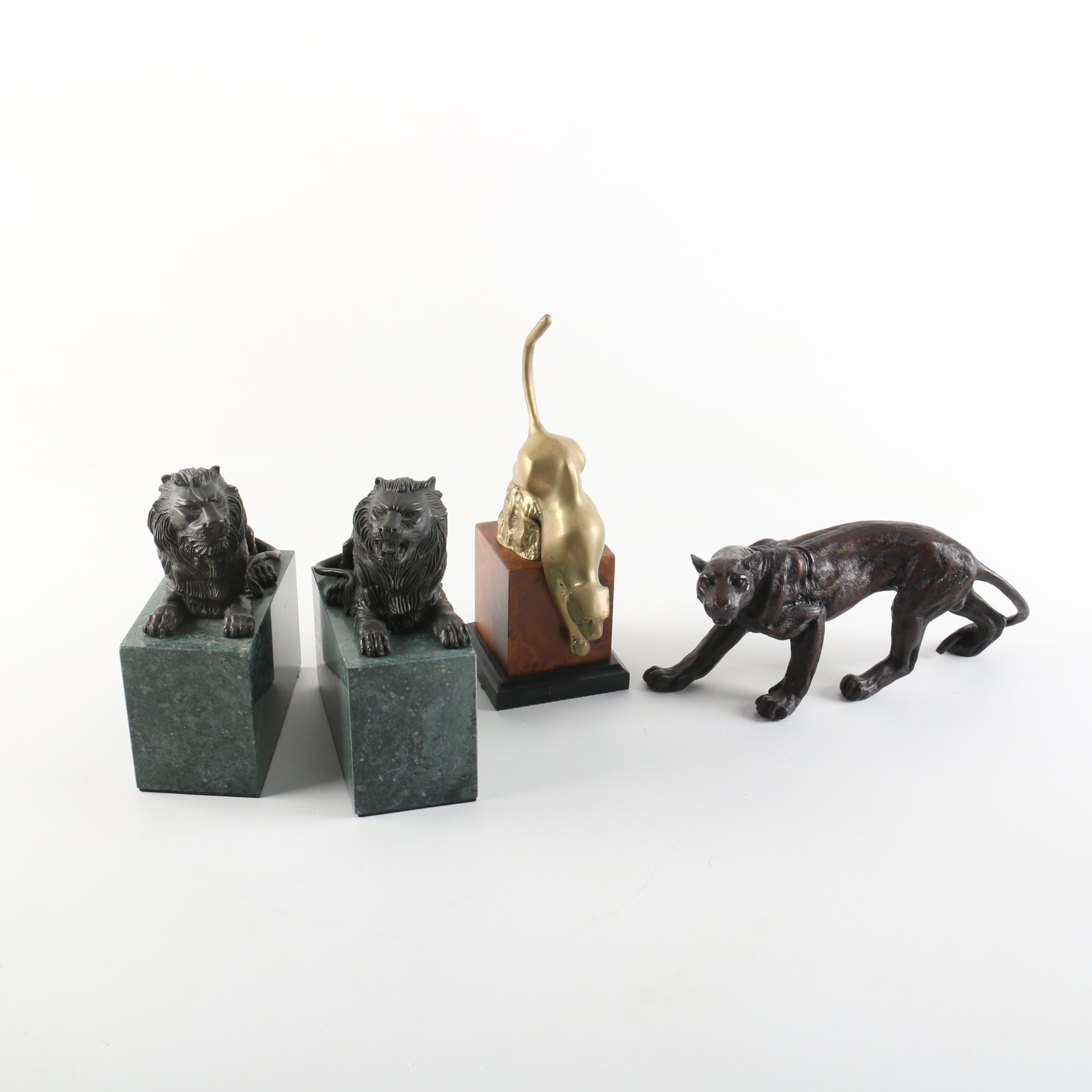 Wooden and Metal Figurines of Big Cats Including  Marble Base Lion Bookends