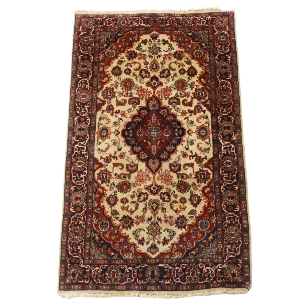 Hand-Knotted Persian Kashan Style Wool Area Rug