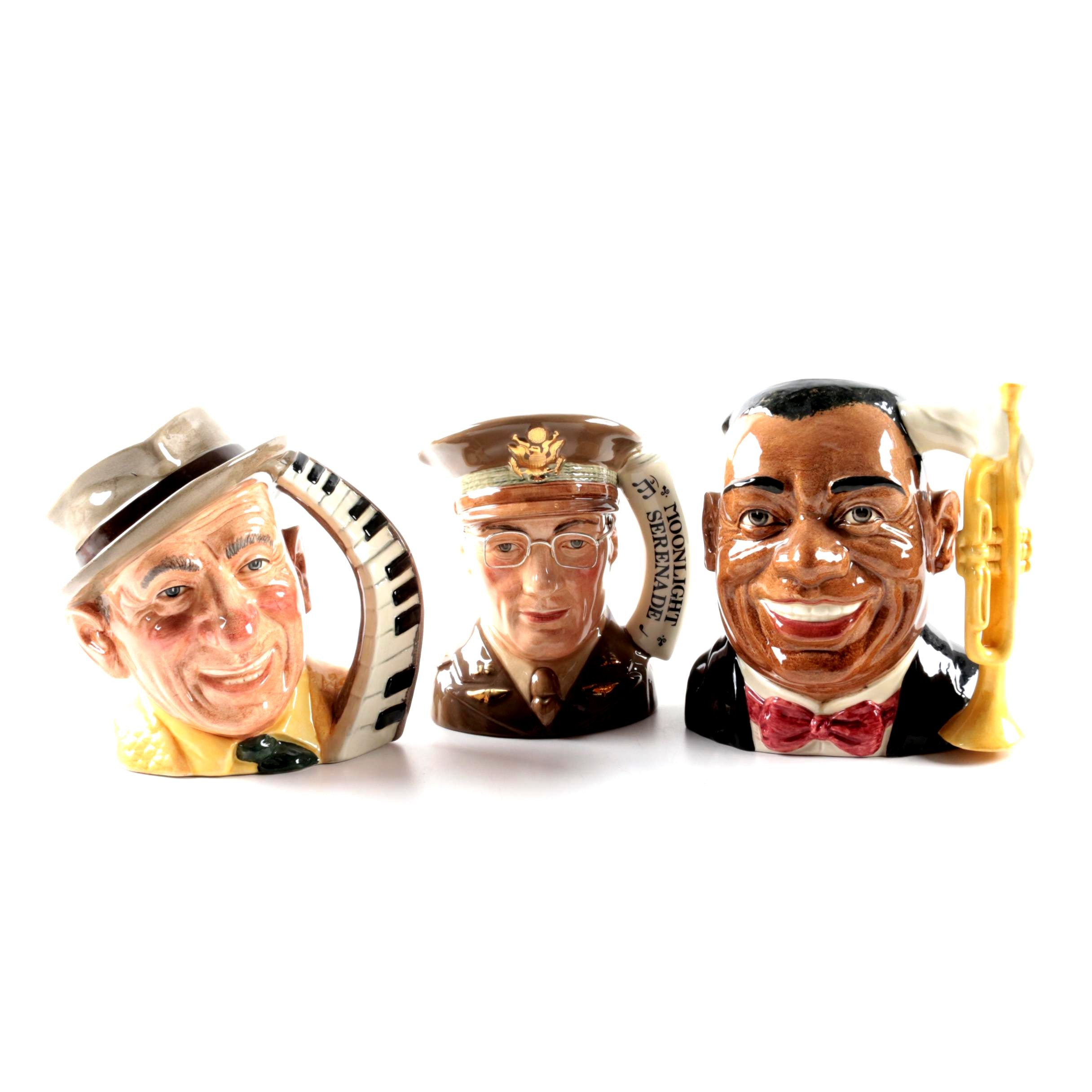"Royal Doulton ""Louis Armstrong"", ""Glenn Miller"" and ""Jimmy Durante"" Toby Mugs"