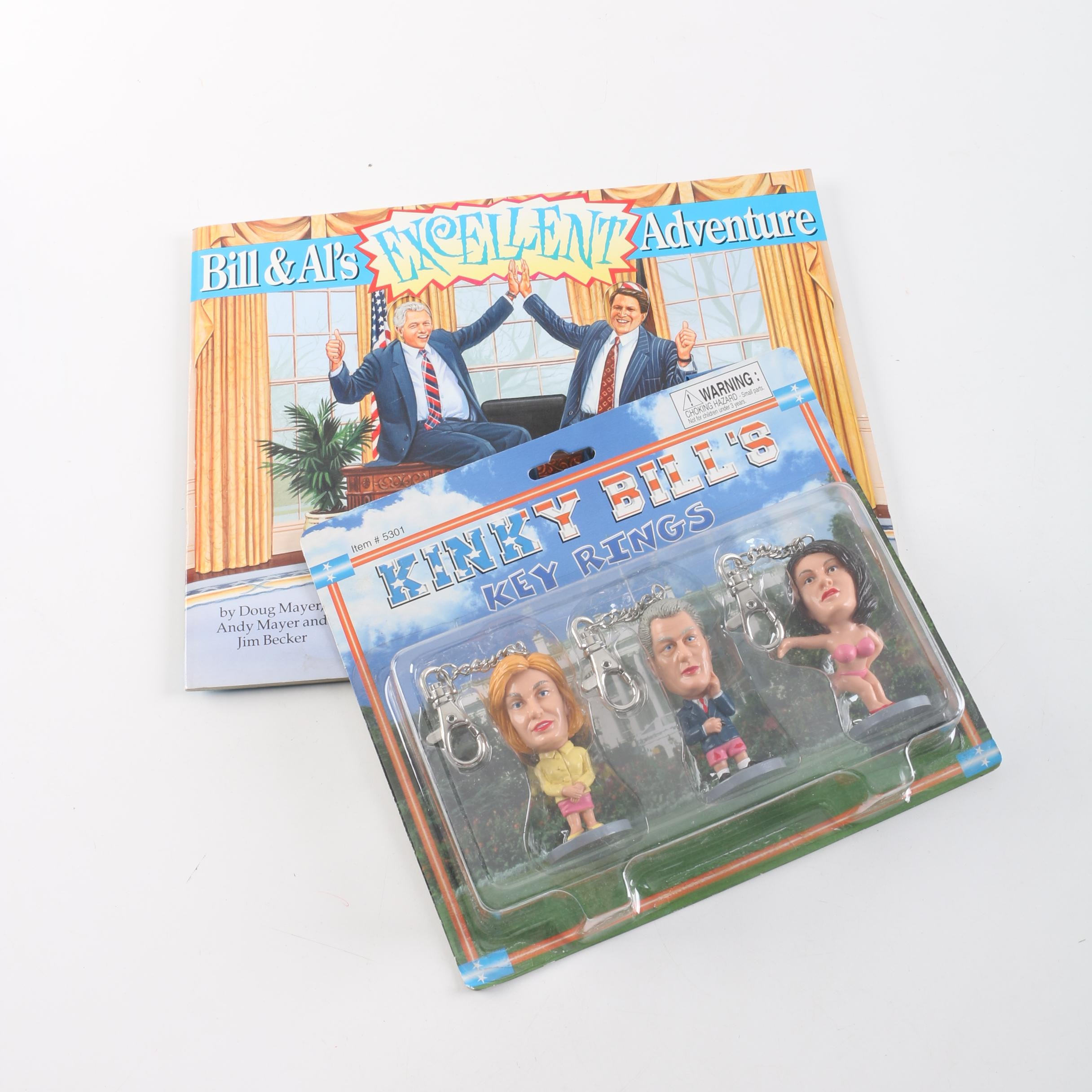 Irreverent Bill Clinton Key Chains and Paper Doll Book