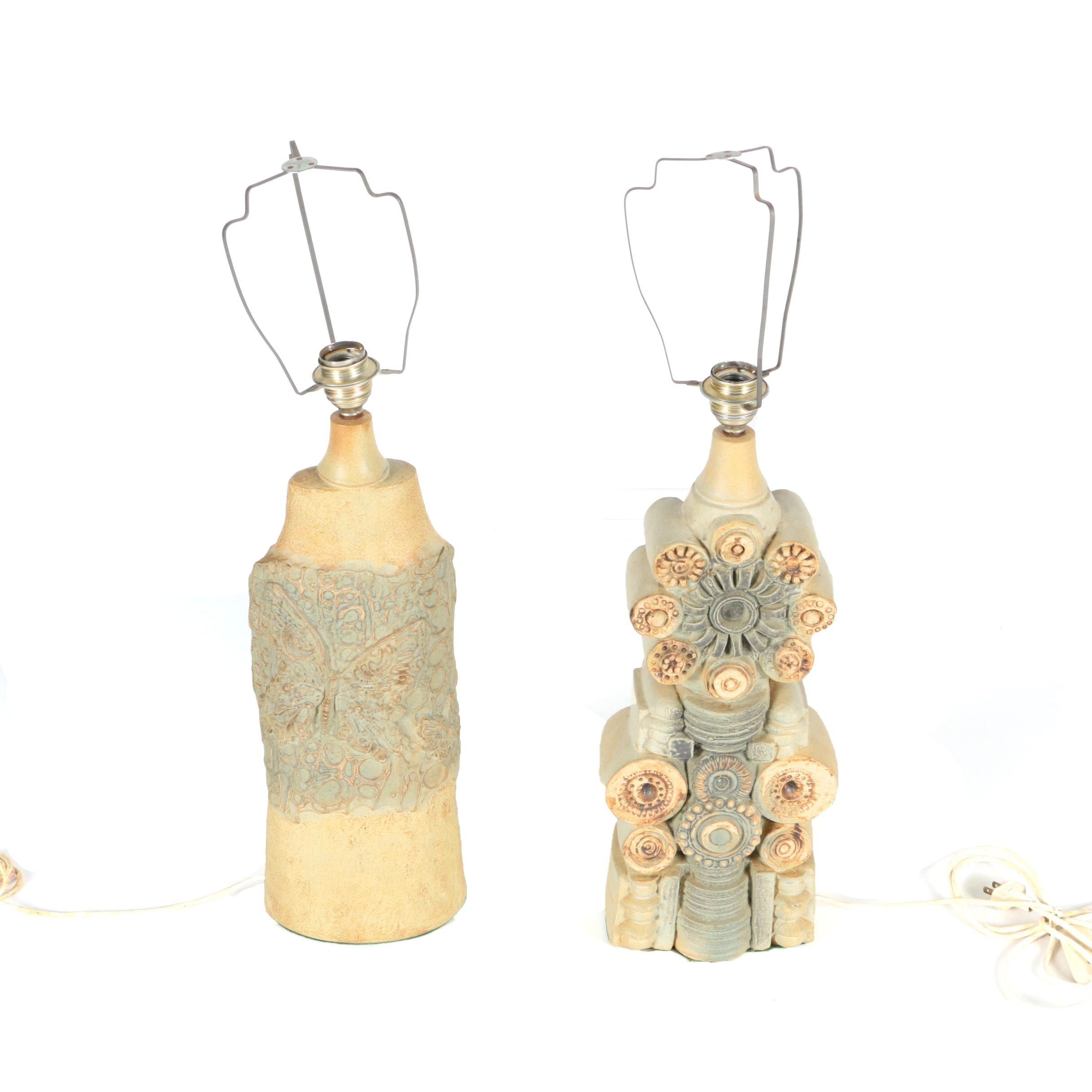 Thrown and Handbuilt Stoneware Table Lamps