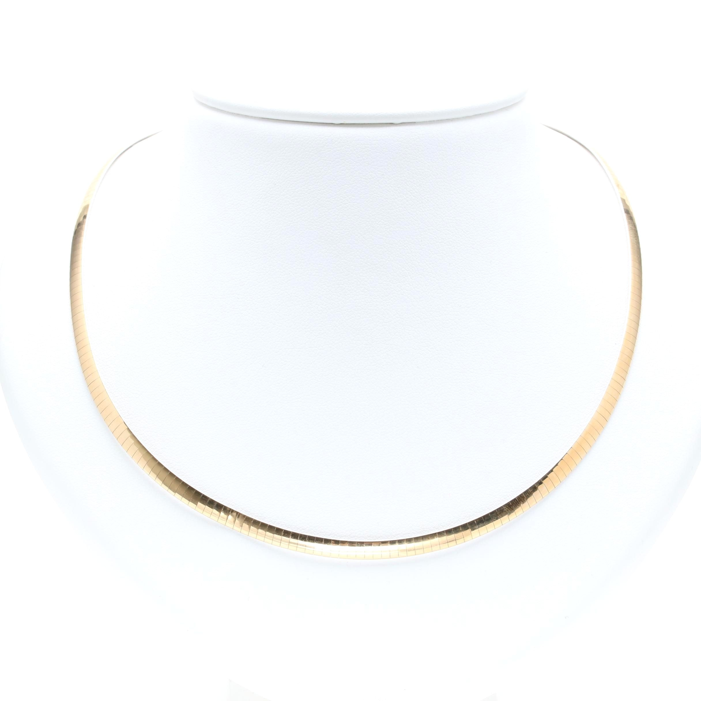 14K Two Tone Reversible Omega Necklace