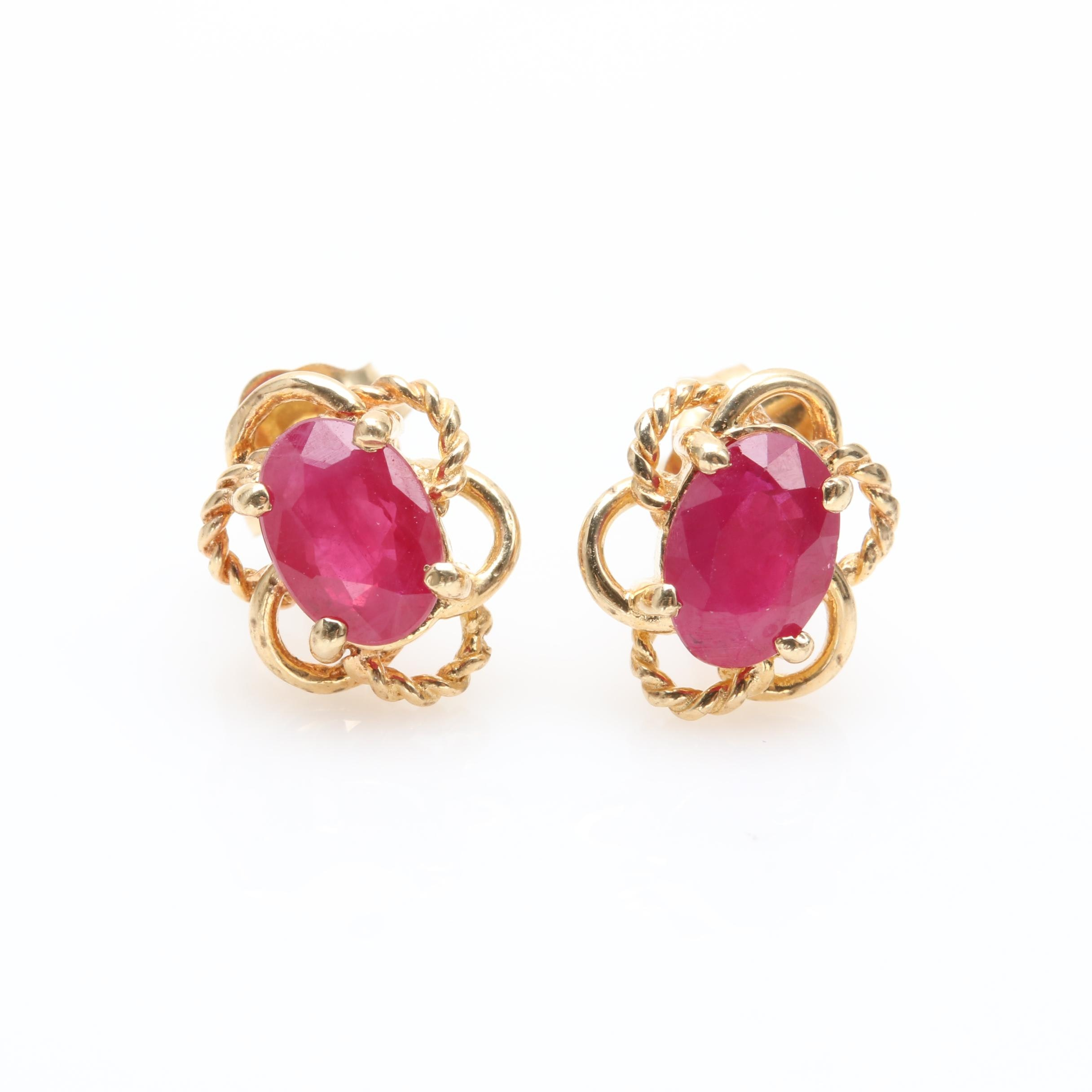 14K Yellow Gold Synthetic Ruby Earrings