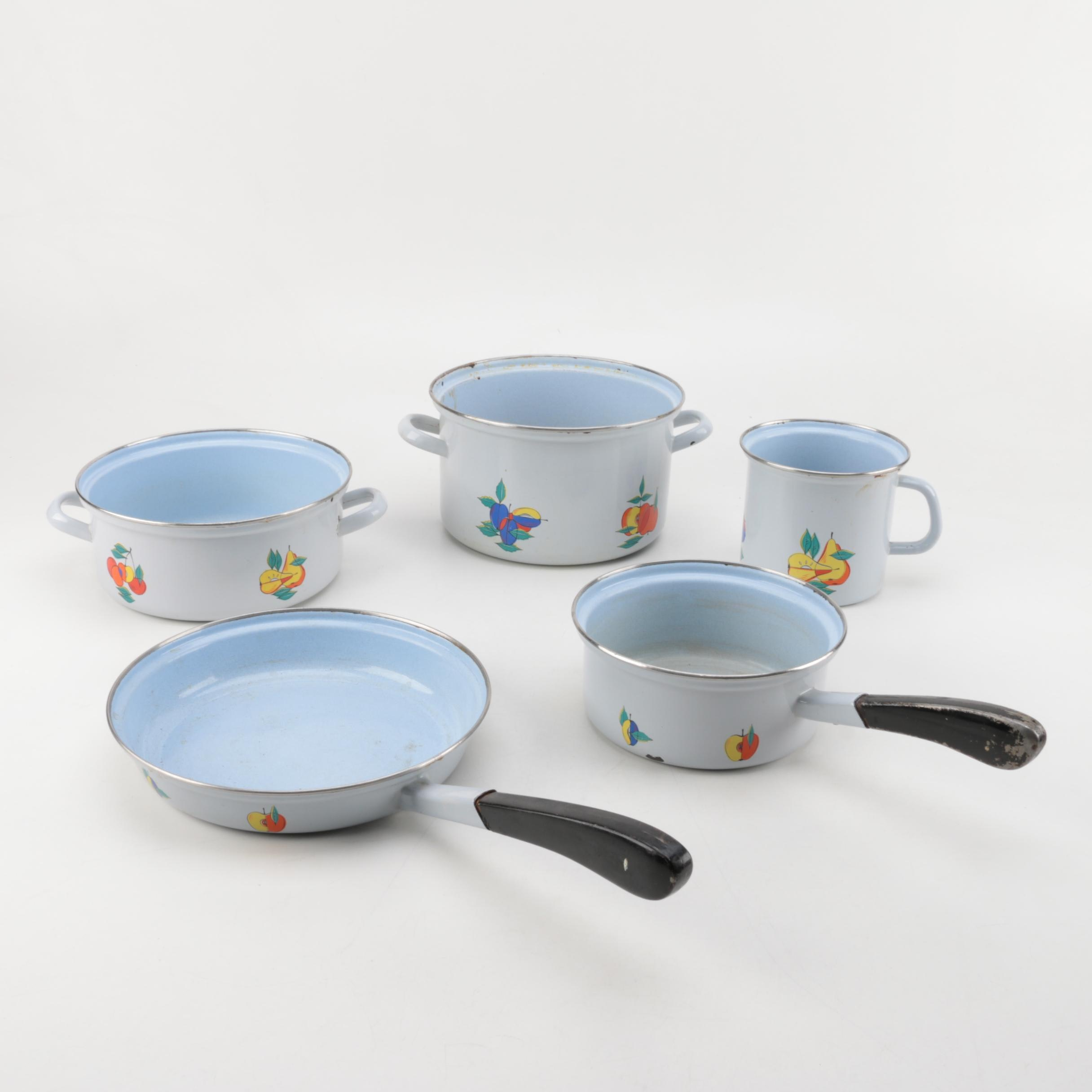 Vintage Enameled Cookware Light Blue with Fruit Design