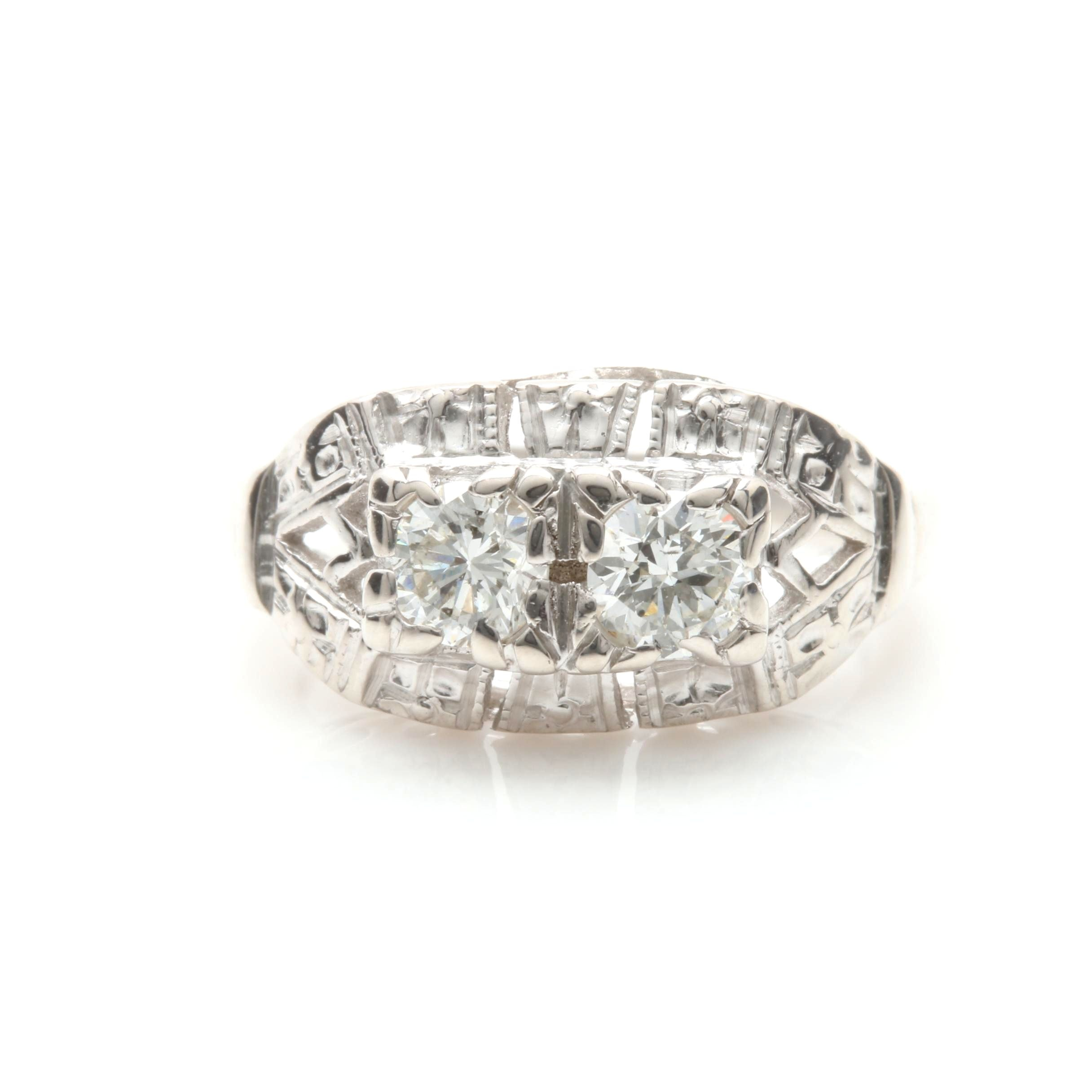 Circa 1950s 14K White Gold Diamond Ring
