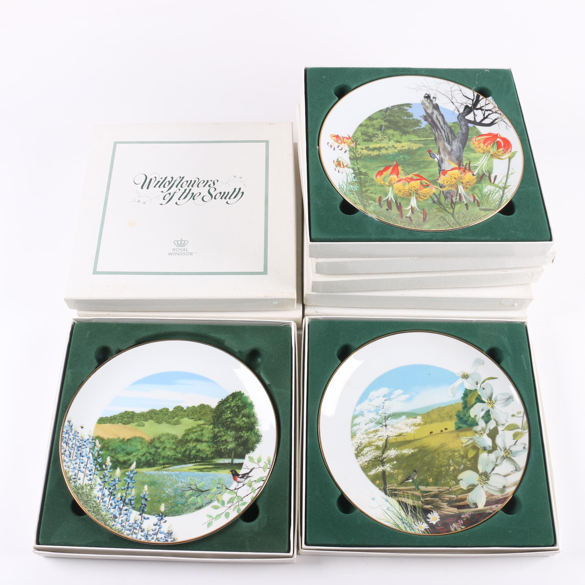 "Royal Windsor ""Wildflowers of the South"" Porcelain Collector's Plates"