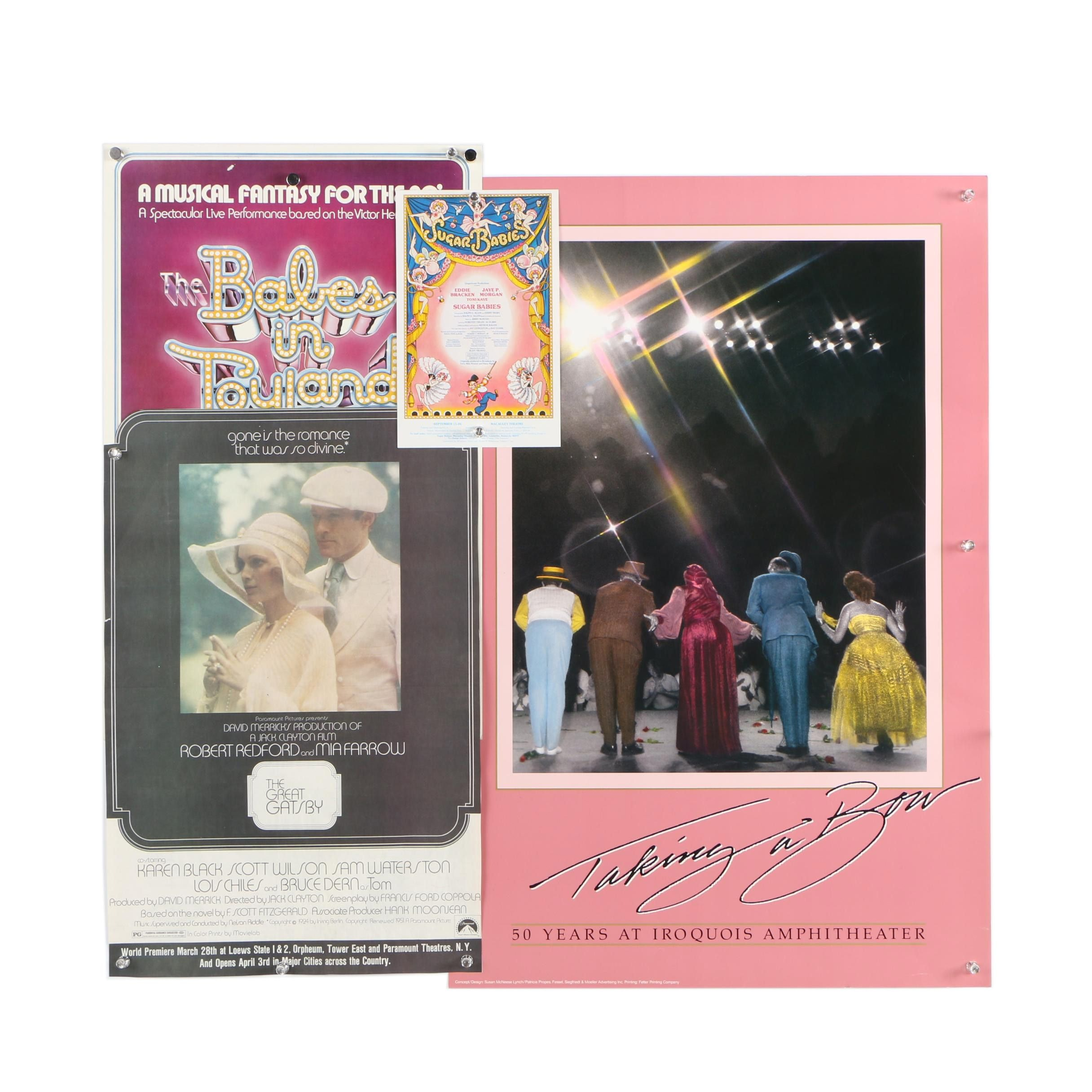 """1970s-80s Movie and Stage Musical Posters Including """"The Great Gatsby"""""""