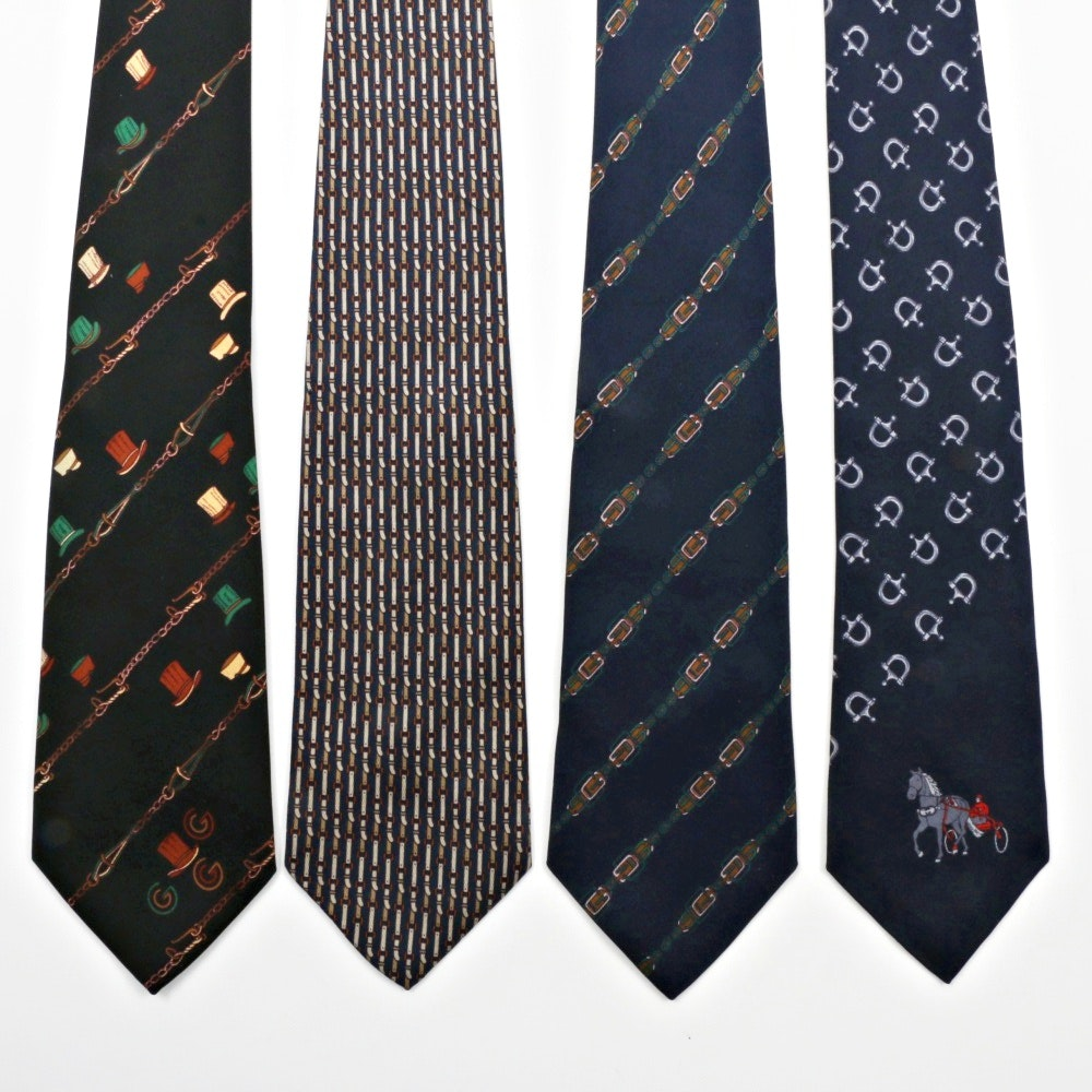 Four Vintage Gucci All Silk Mens Neckties