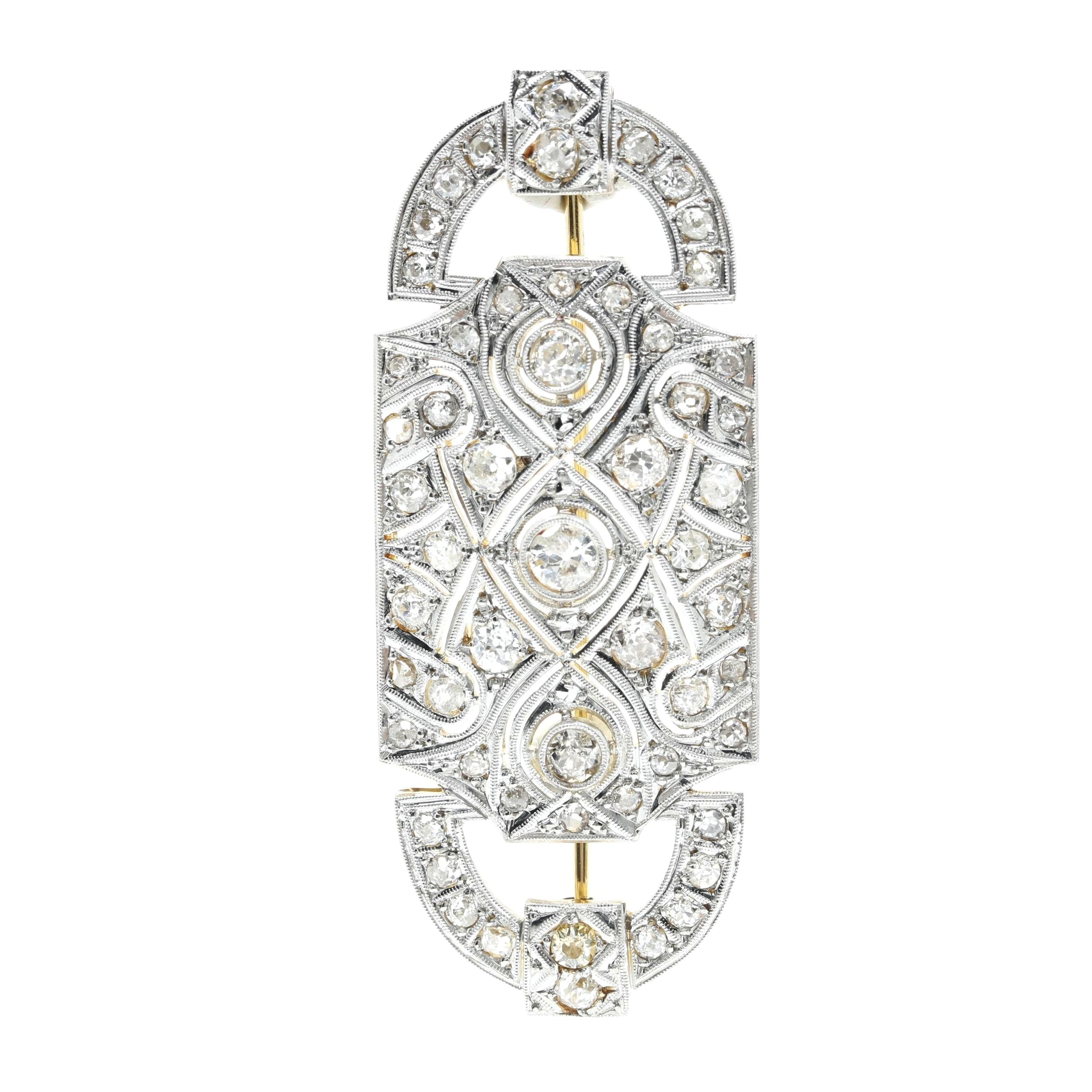 Edwardian Platinum and 18K Yellow Gold 2.00 CTW Diamond Brooch