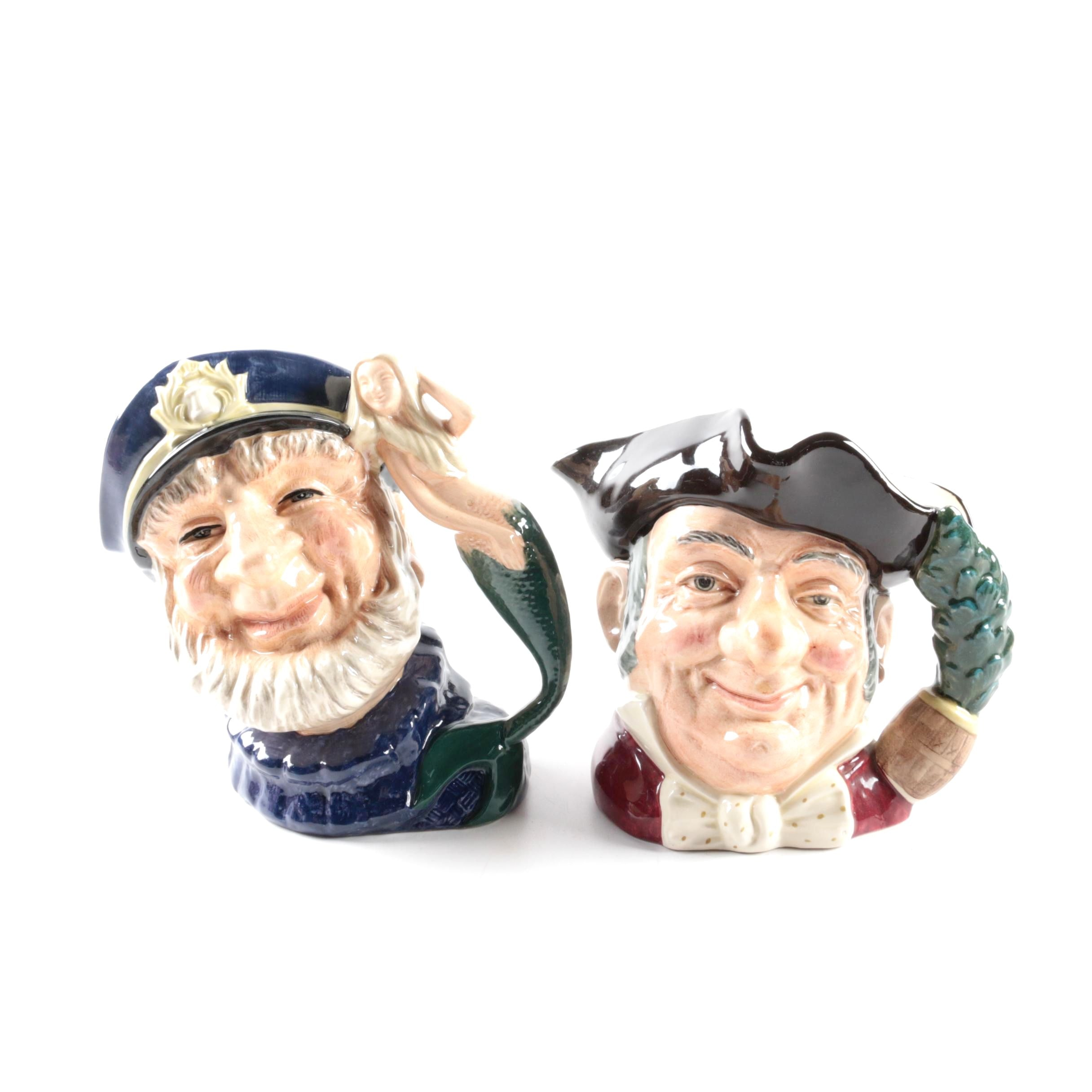 """Royal Doulton """"Mine Host"""" D6468 and """"Old Salt"""" D6551 Character Jugs"""