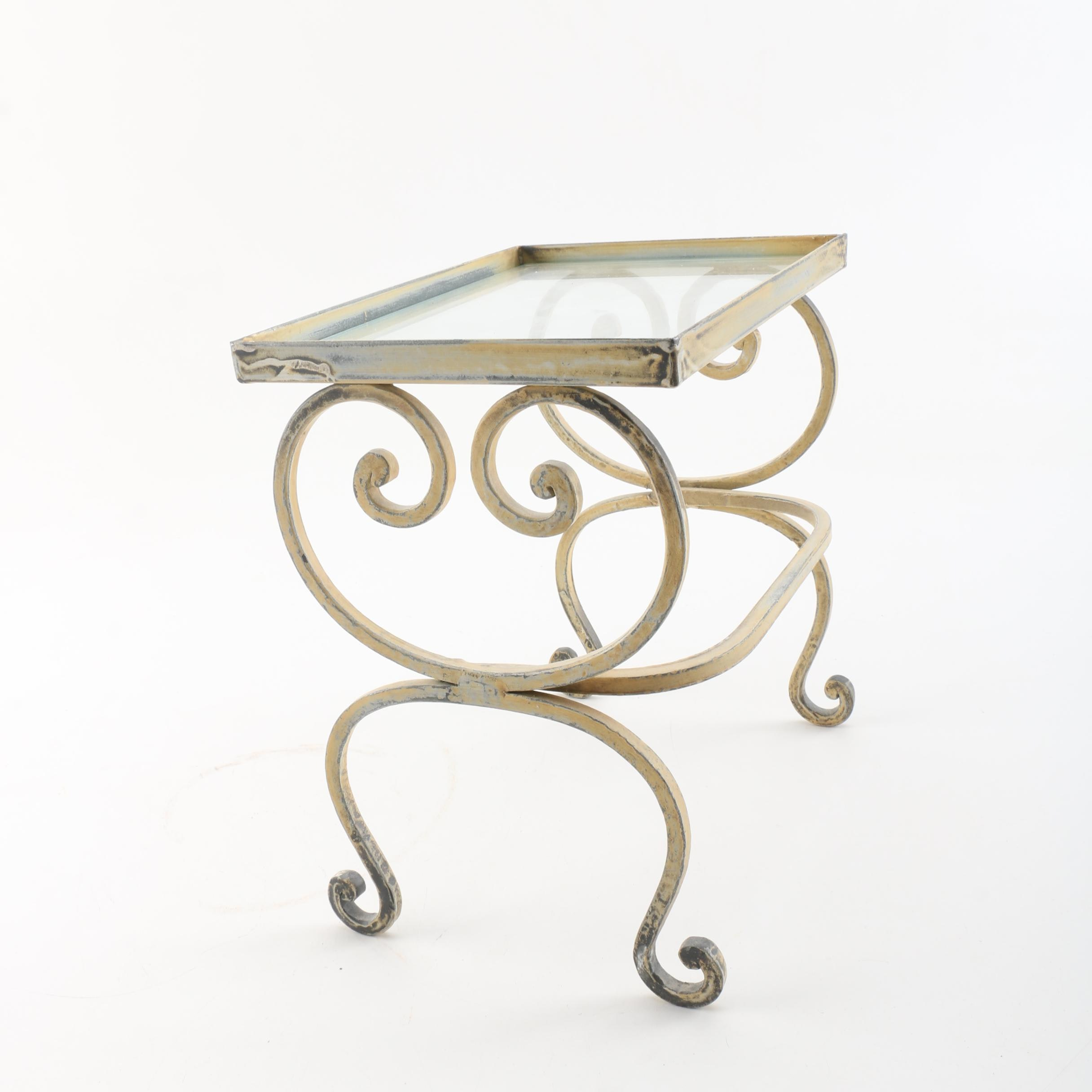 Mini Glass Topped Brass Tone Table