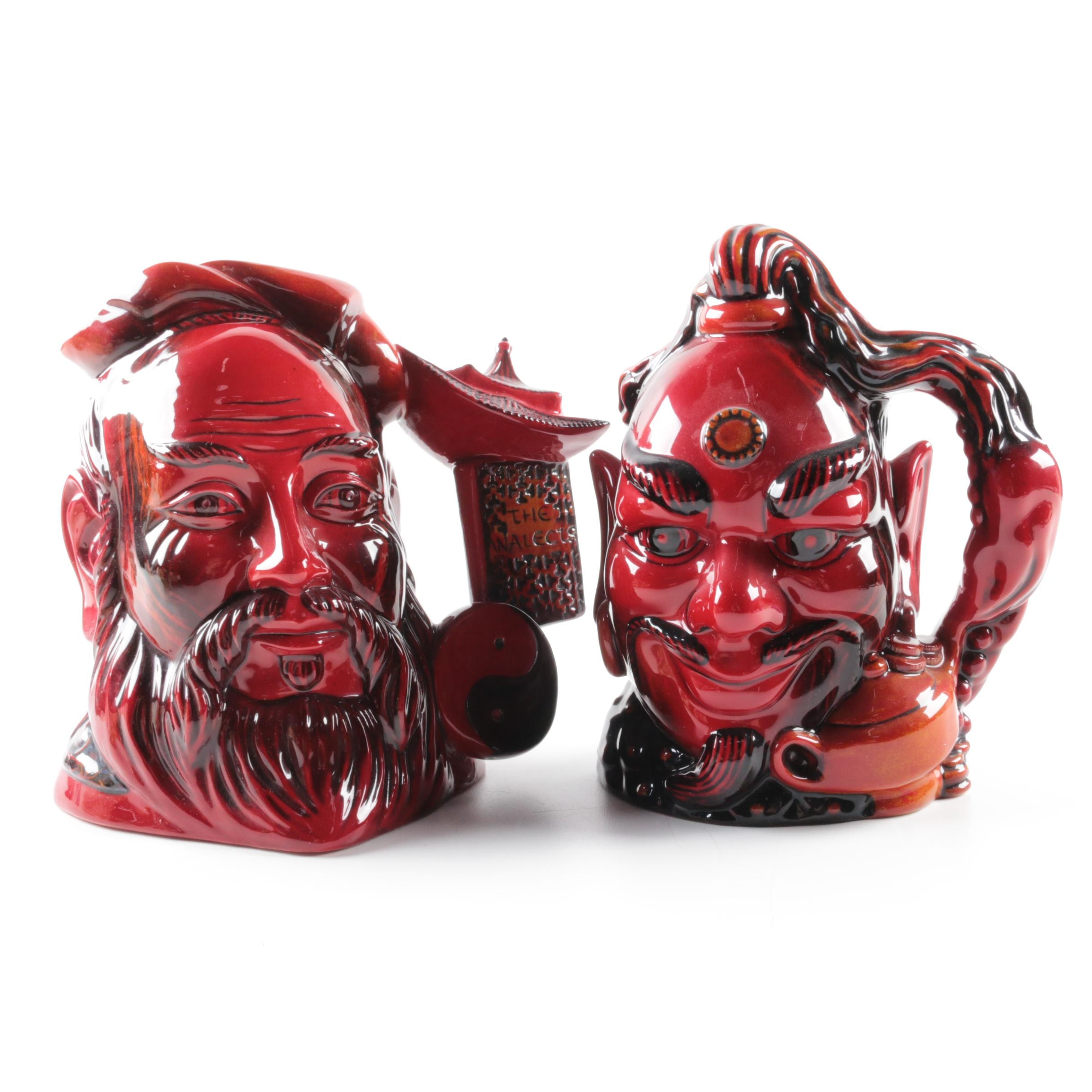 """Royal Doulton Flambe Character Jugs Including """"Confucius"""" and """"Aladdin's Genie"""""""