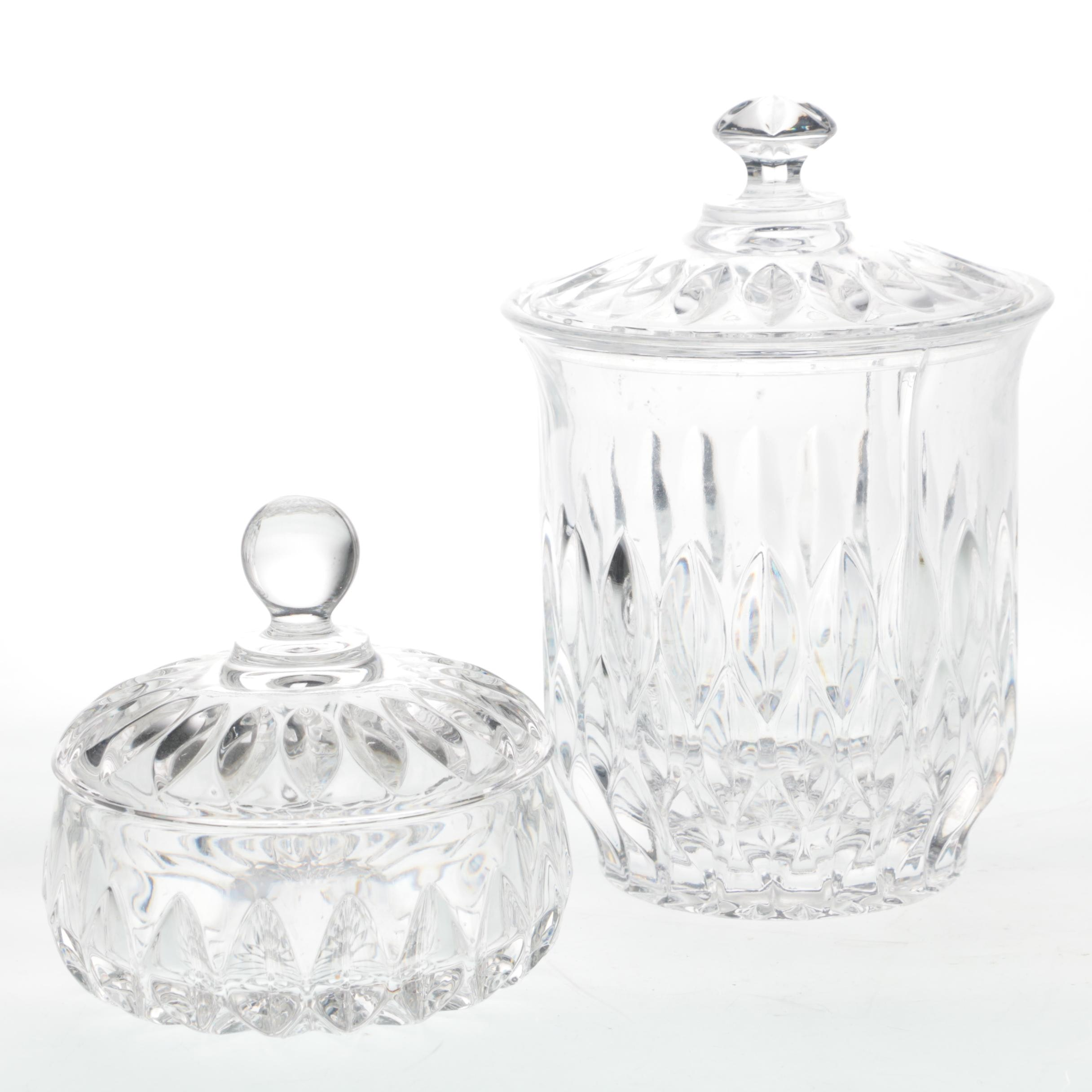 """Gorham """"Althea"""" Crystal Biscuit Barrel and Candy Box"""